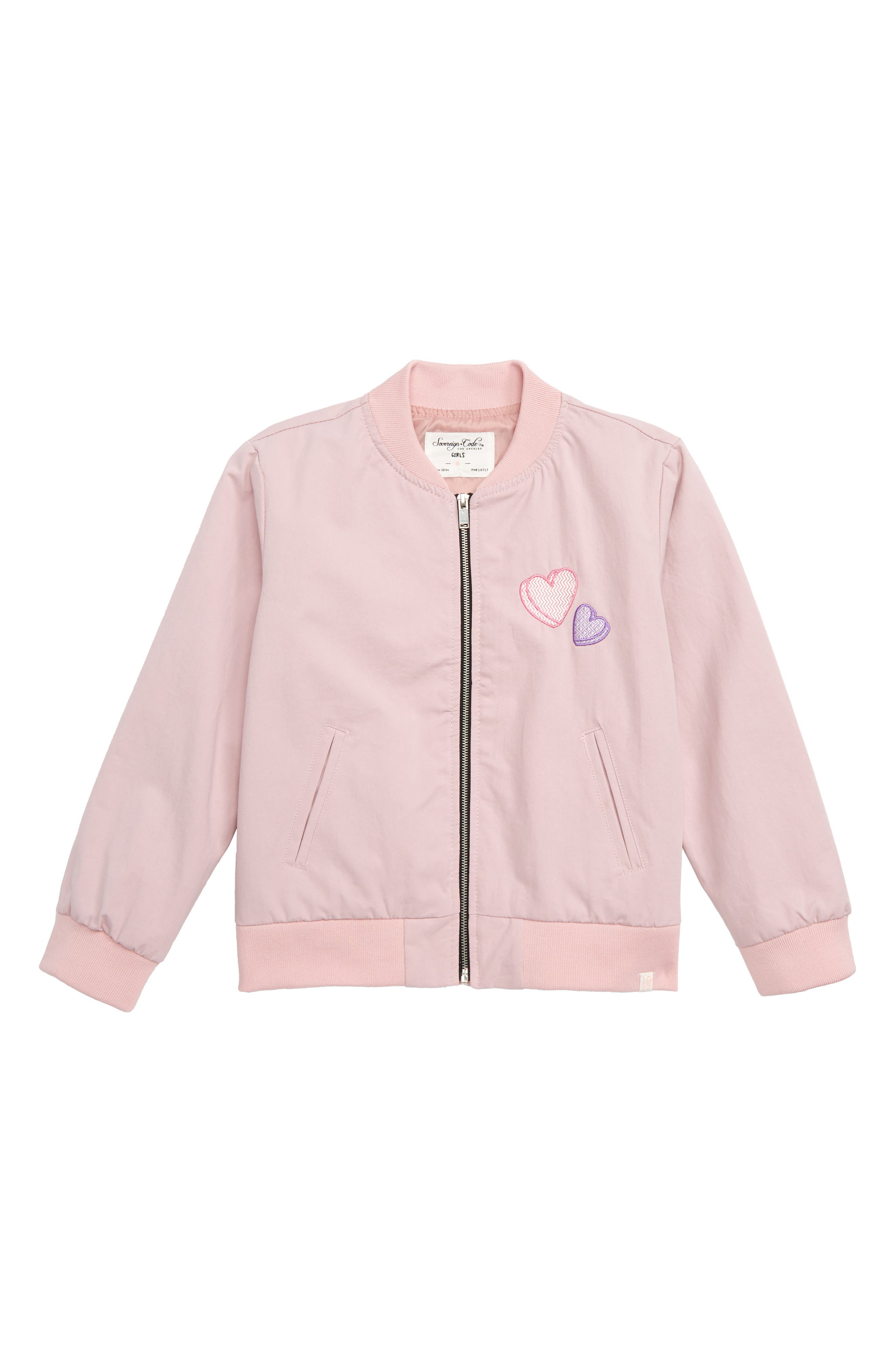Elise Heart Bomber Jacket,                             Main thumbnail 1, color,                             PINK