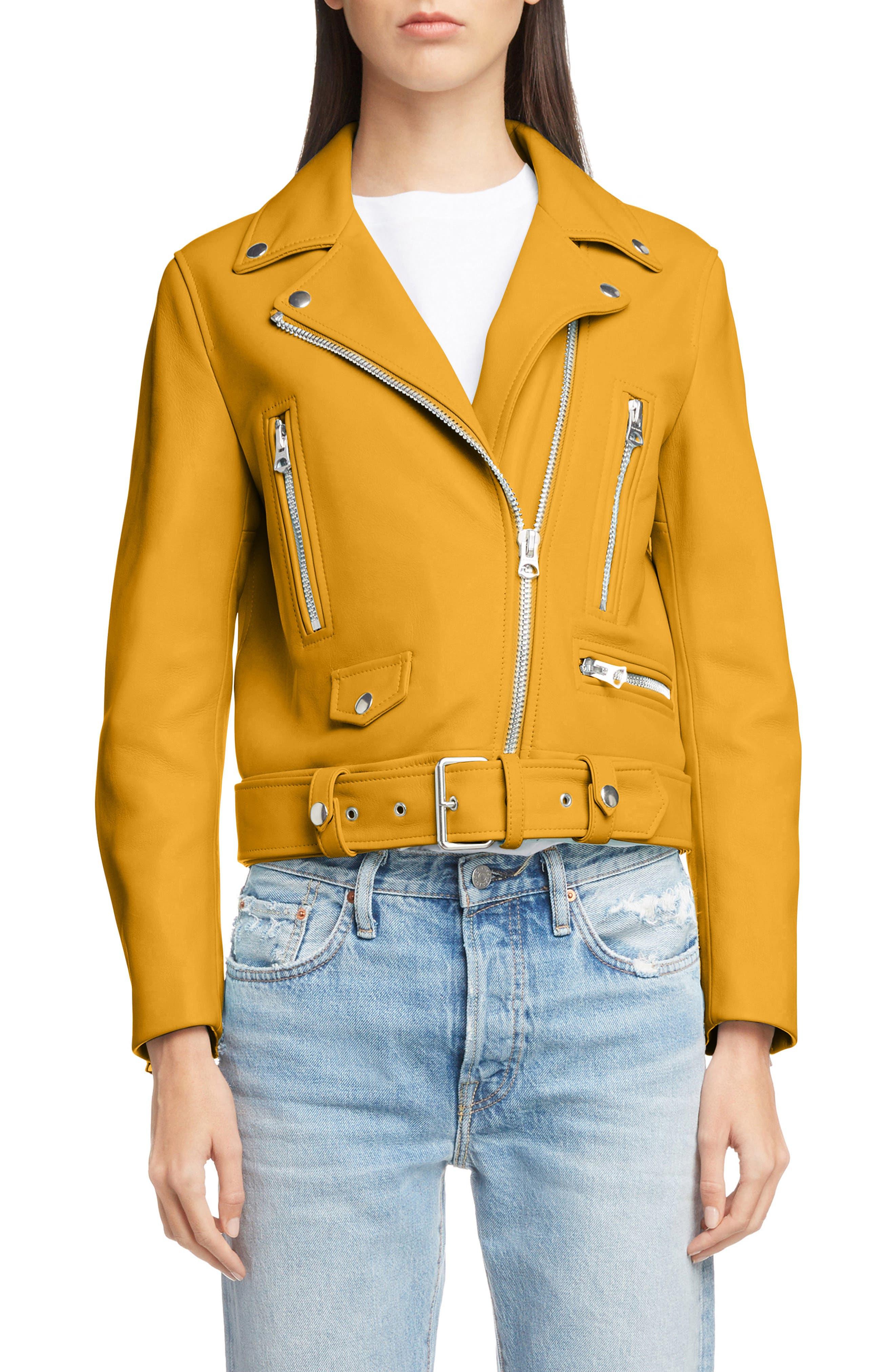 Mock Core Leather Moto Jacket,                             Main thumbnail 1, color,                             SUNFLOWER YELLOW
