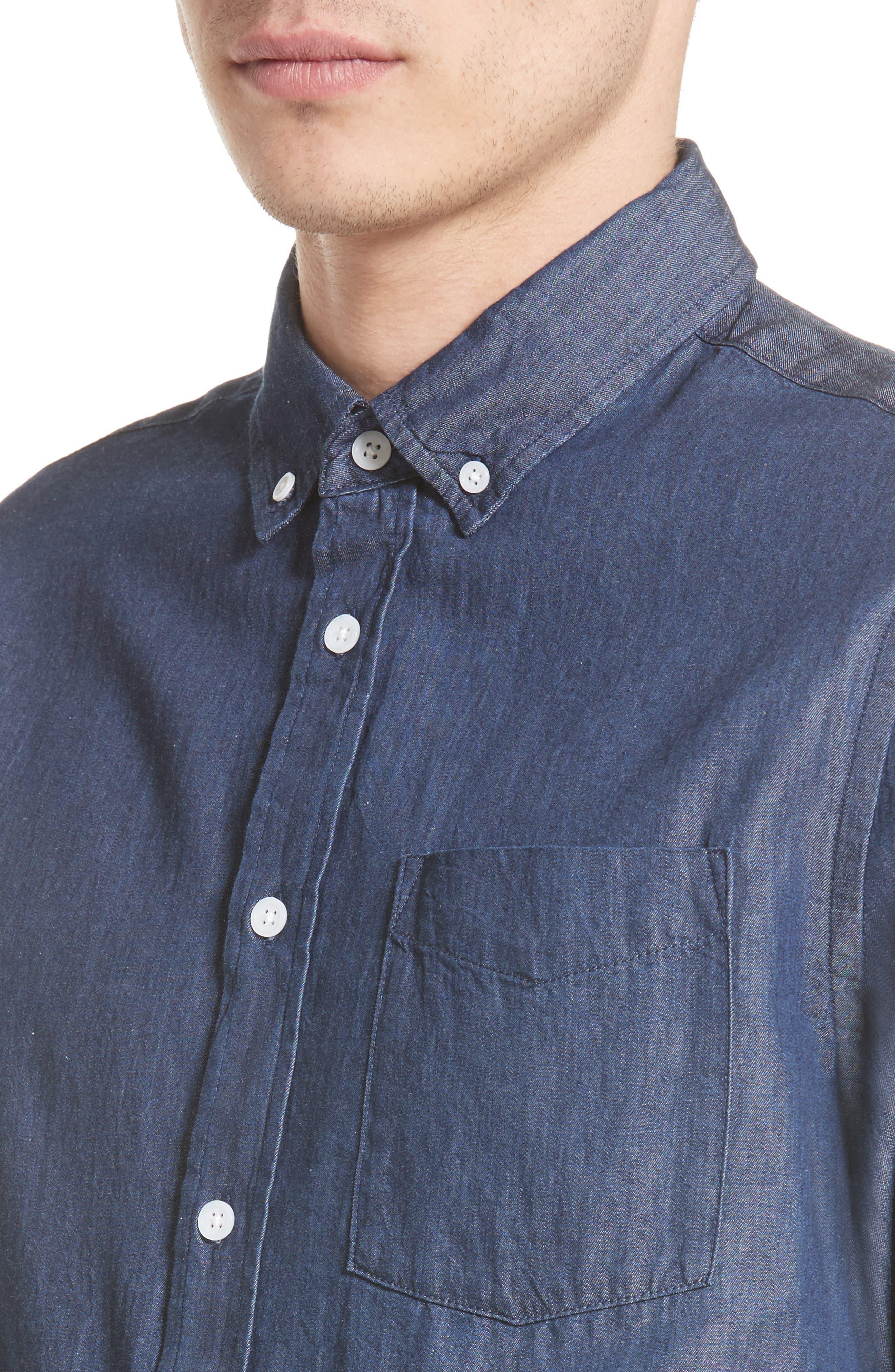 Crosby Denim Slim Fit Sport Shirt,                             Alternate thumbnail 5, color,                             INDIGO