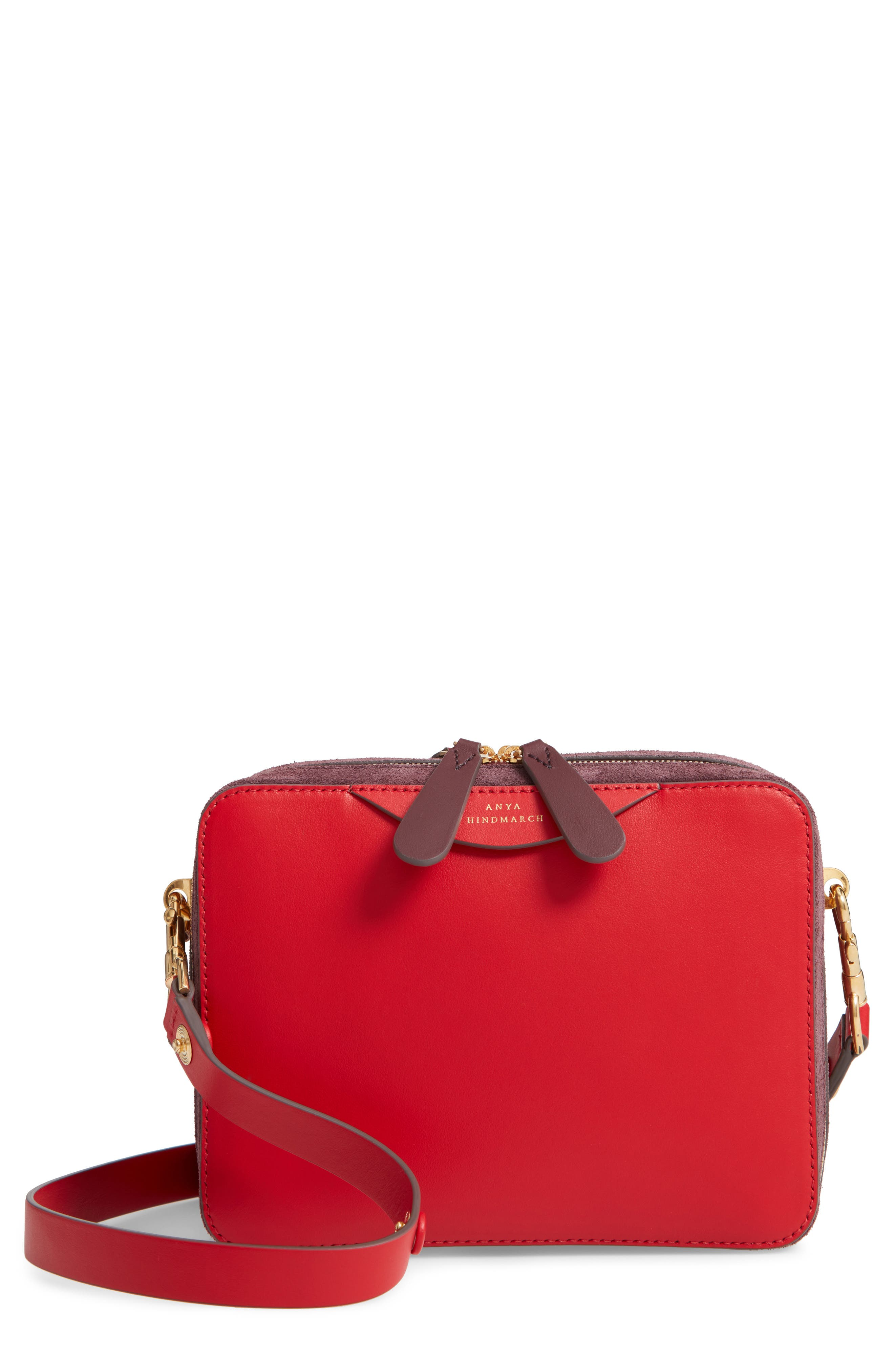 The Double Stack Leather Crossbody Bag,                             Main thumbnail 1, color,                             BRIGHT RED/ OXBLOOD