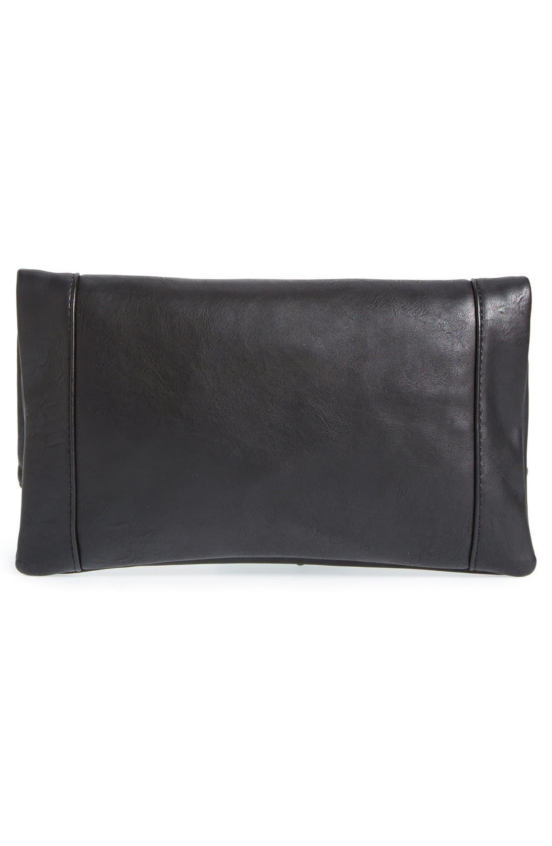 Marlena Faux Leather Foldover Clutch,                             Alternate thumbnail 3, color,                             JET BLACK