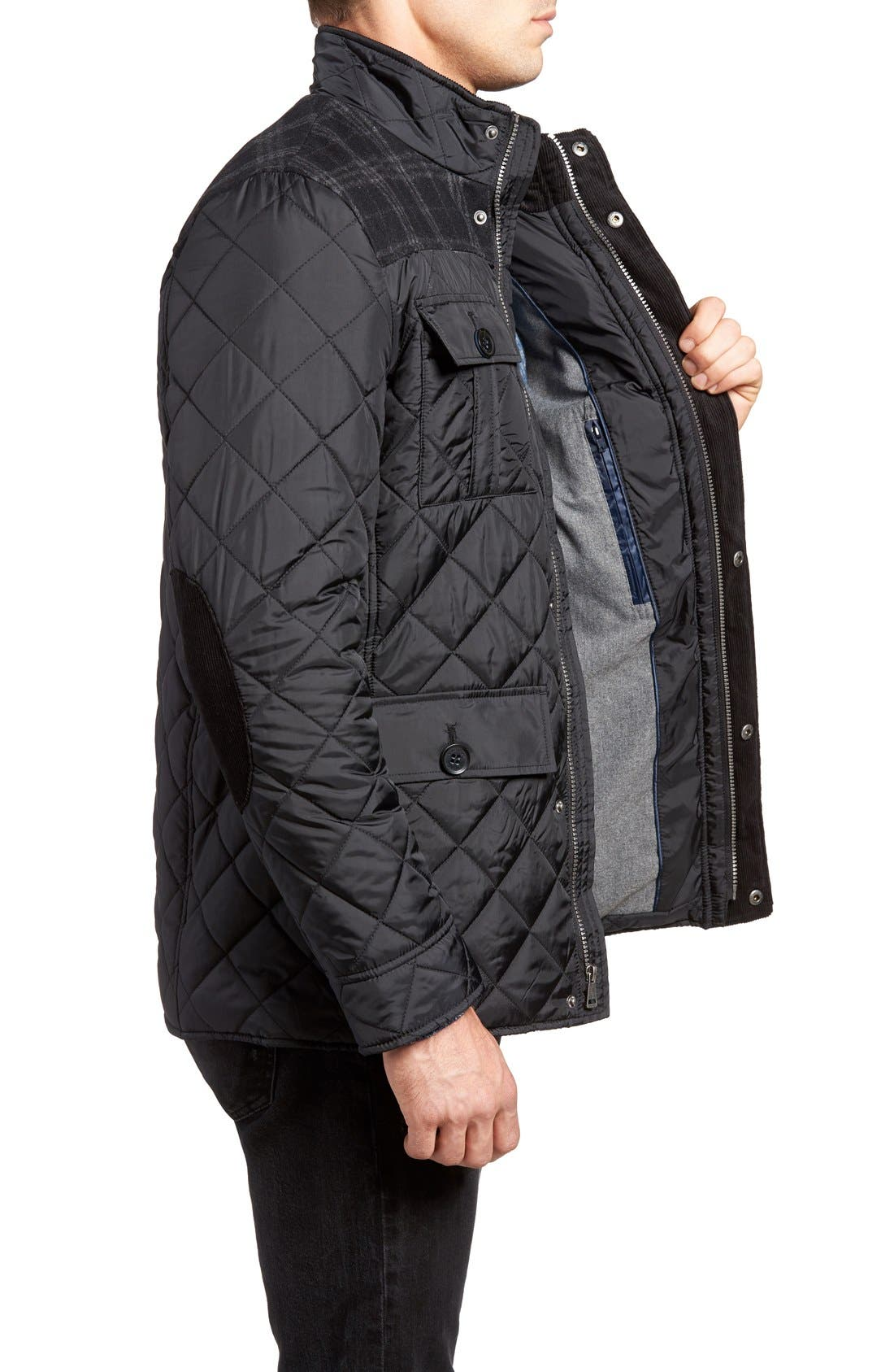 Mixed Media Quilted Jacket,                             Alternate thumbnail 3, color,                             001