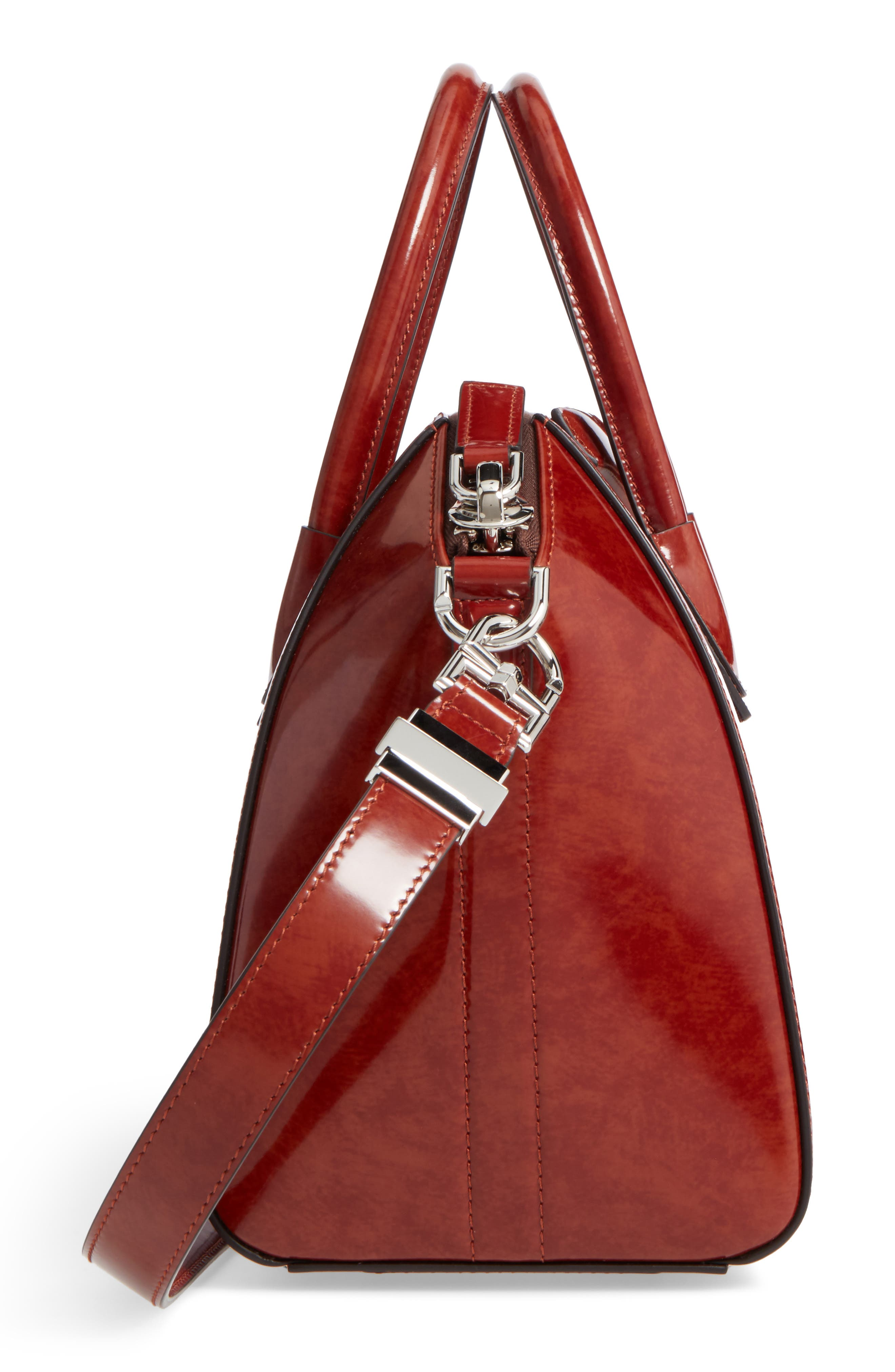 Small Antigona Glazed Leather Satchel,                             Alternate thumbnail 5, color,                             230