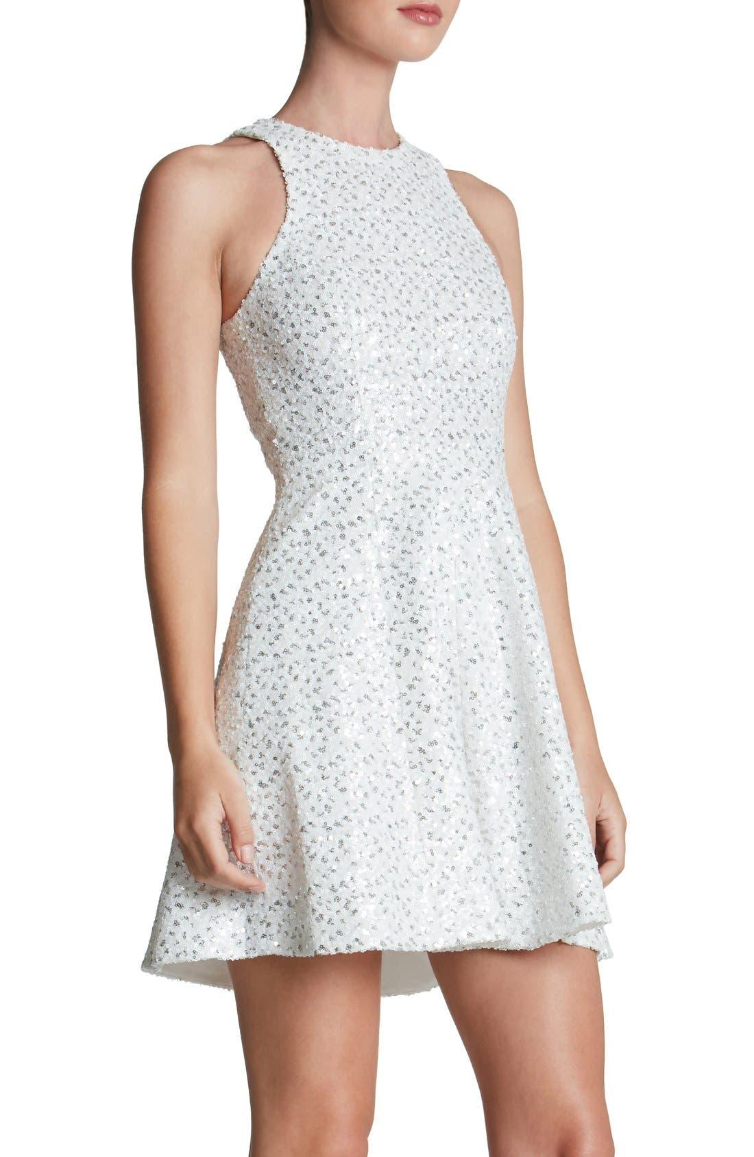 'Ginger' Sequin Fit & Flare Dress,                             Alternate thumbnail 3, color,                             153