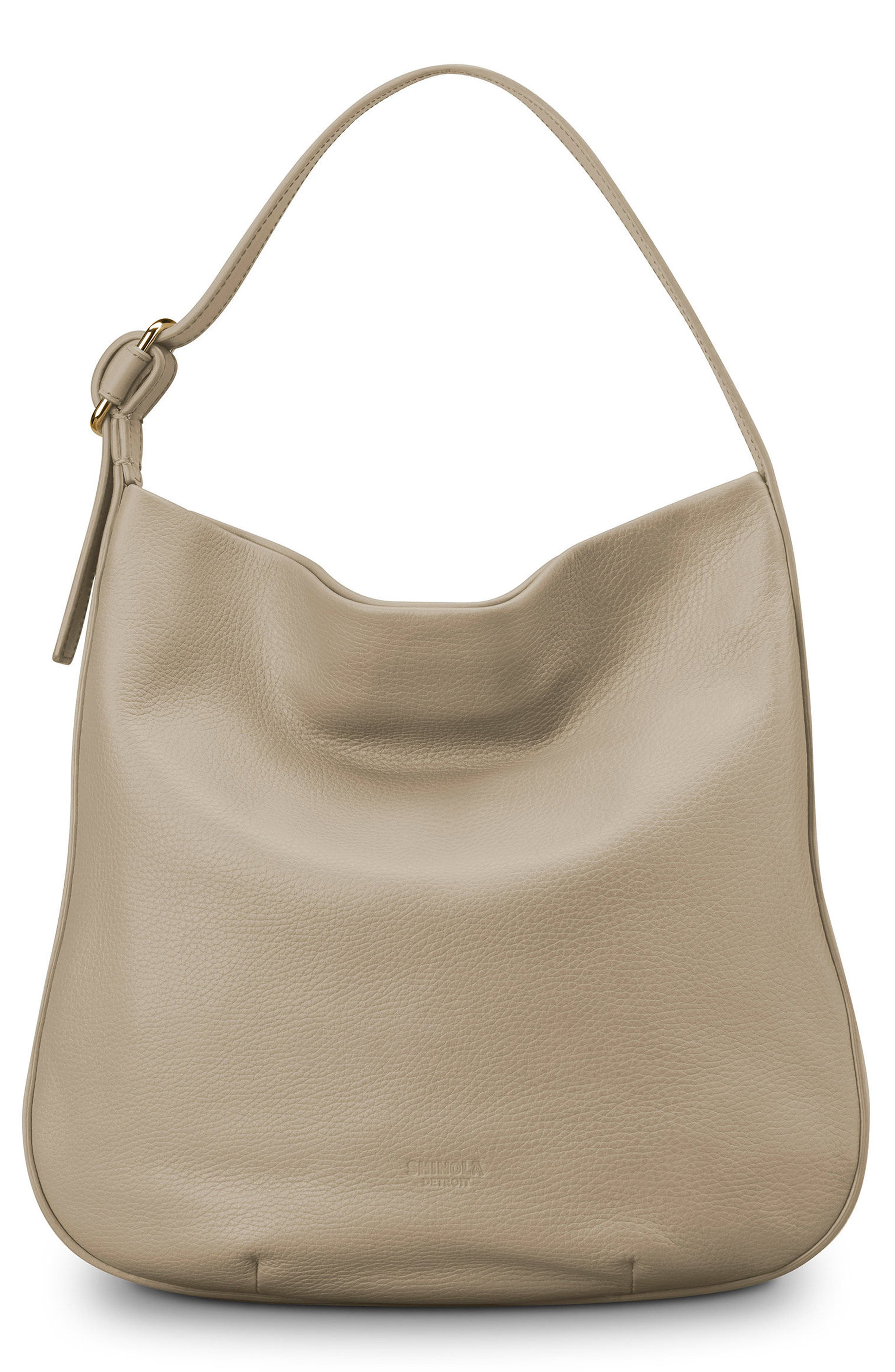 Birdy Grained Leather Hobo Bag,                             Main thumbnail 1, color,                             STONE