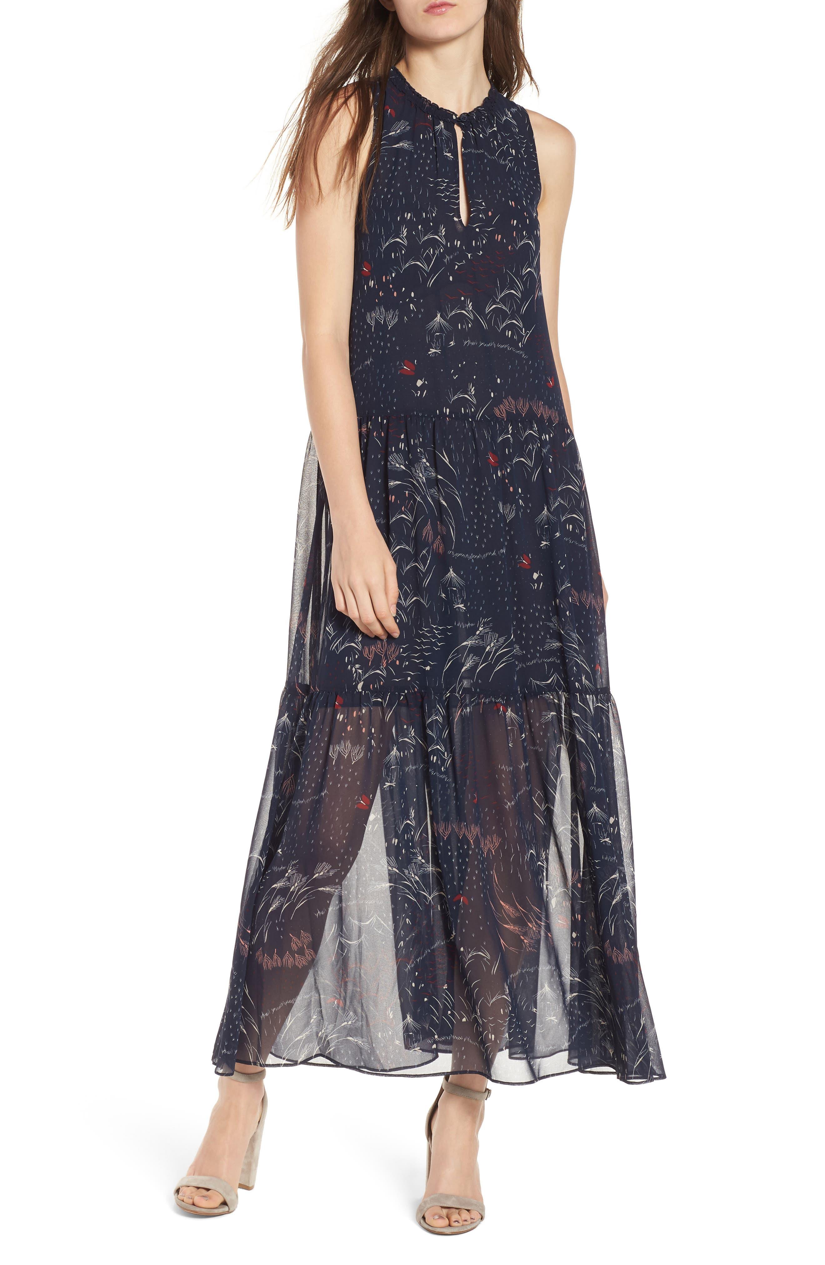 Print Tiered Maxi Dress,                             Main thumbnail 1, color,