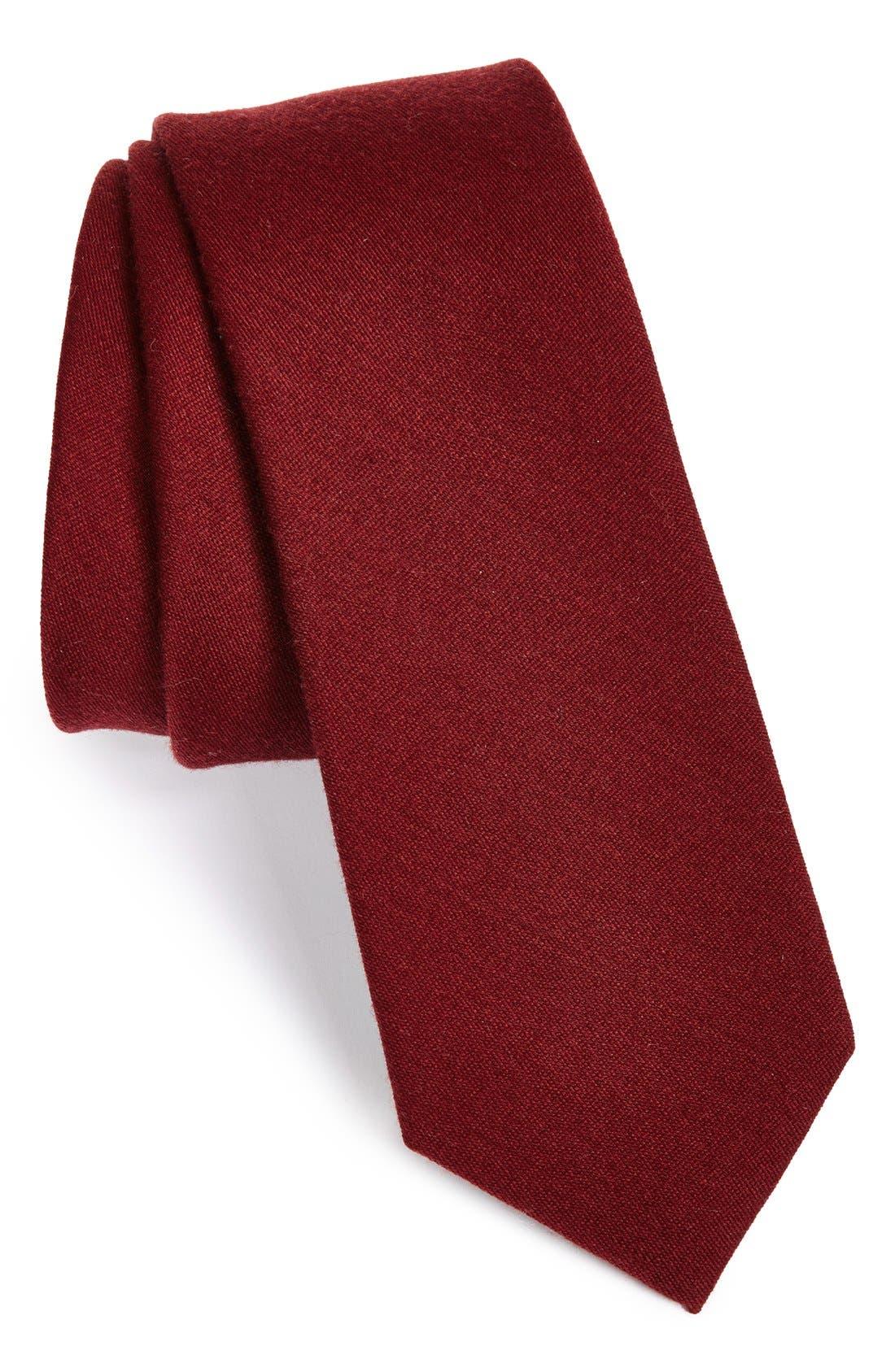 Wool & Silk Solid Tie,                         Main,                         color, BURGUNDY