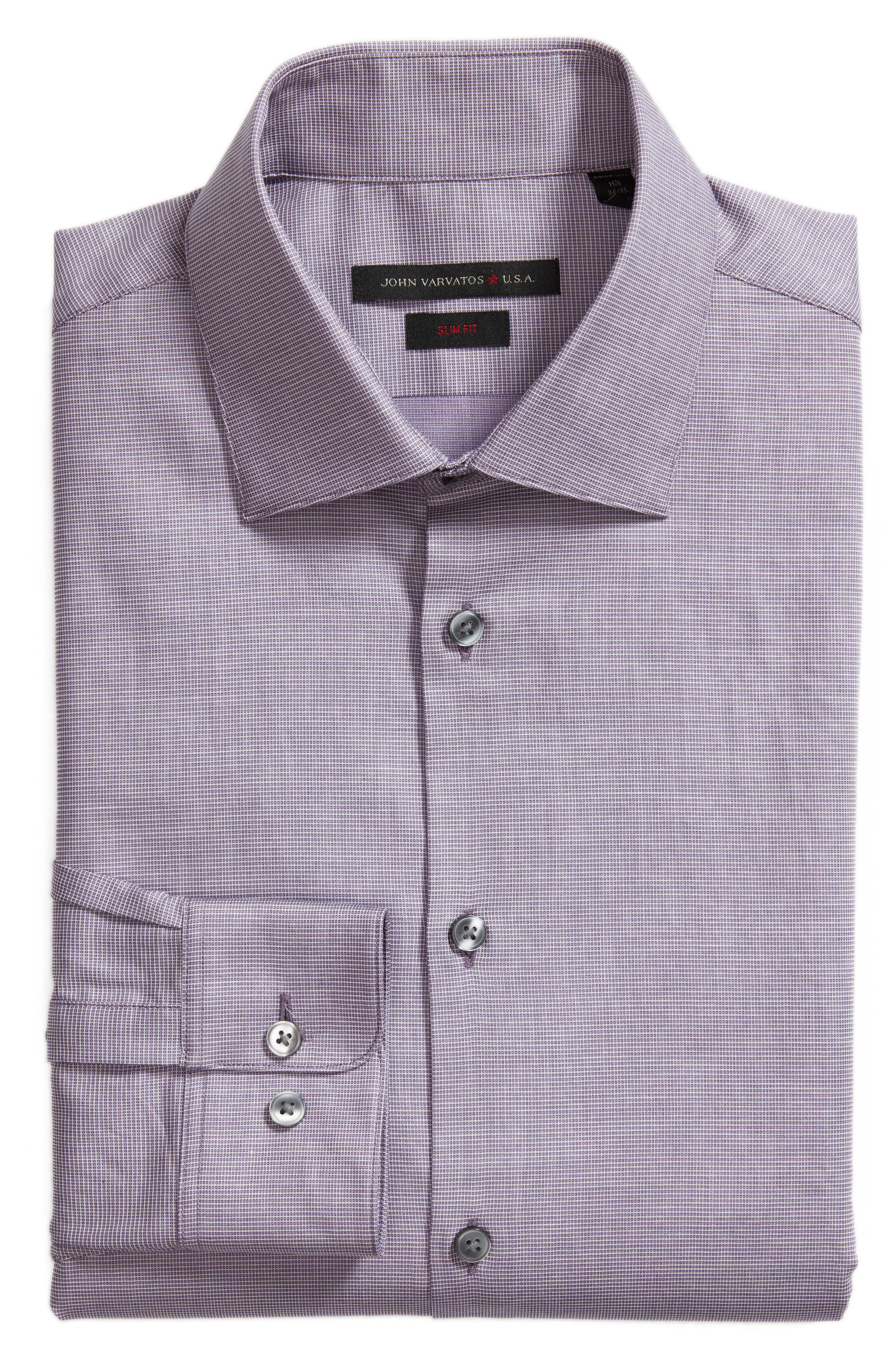 Slim Fit Stretch Microdot Dress Shirt,                             Alternate thumbnail 5, color,                             505