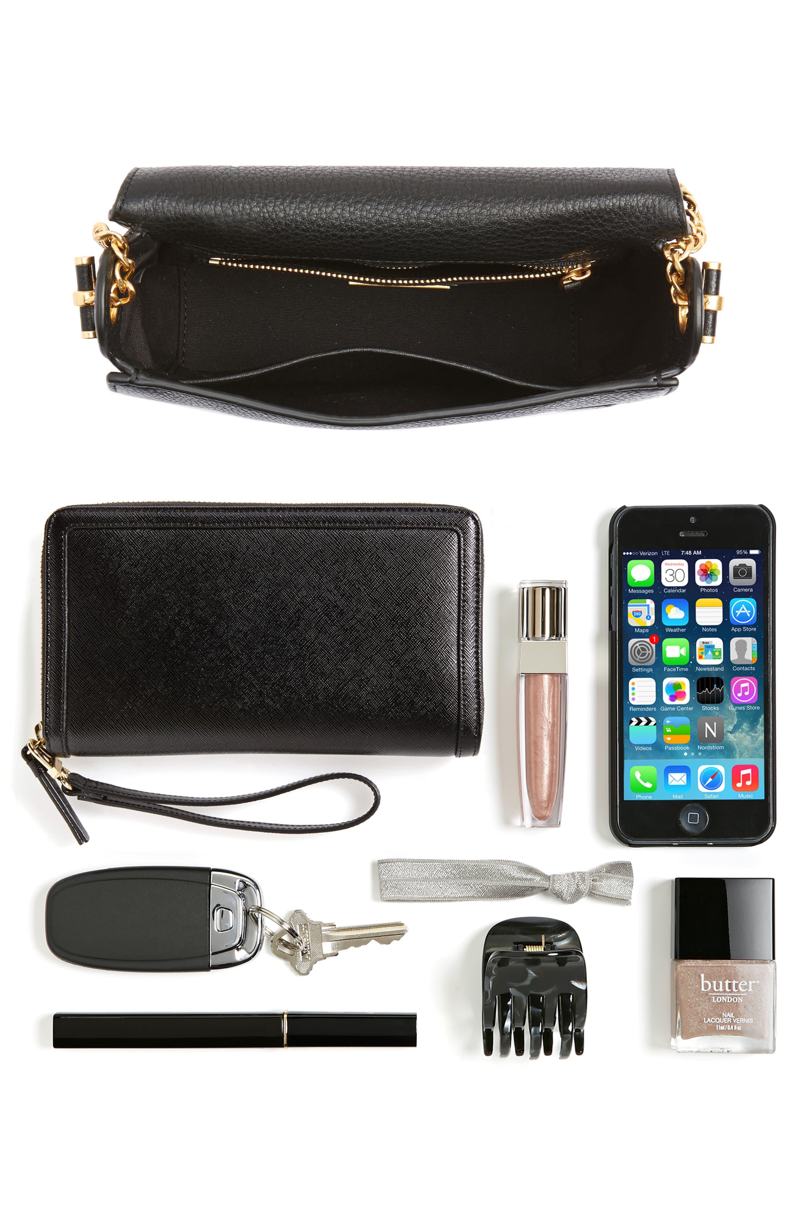 Chelsea Leather Crossbody Bag,                             Alternate thumbnail 7, color,                             BLACK CORE