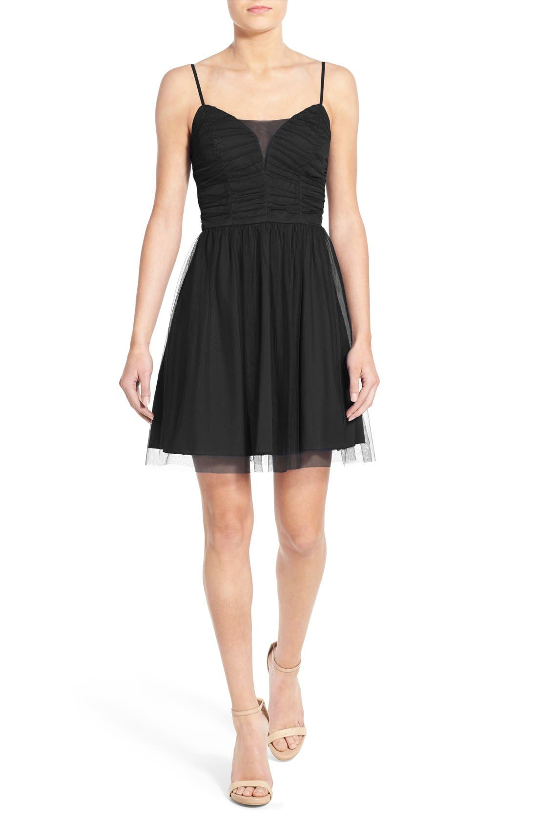 'Bailey' Mesh Skater Dress,                             Main thumbnail 1, color,                             001