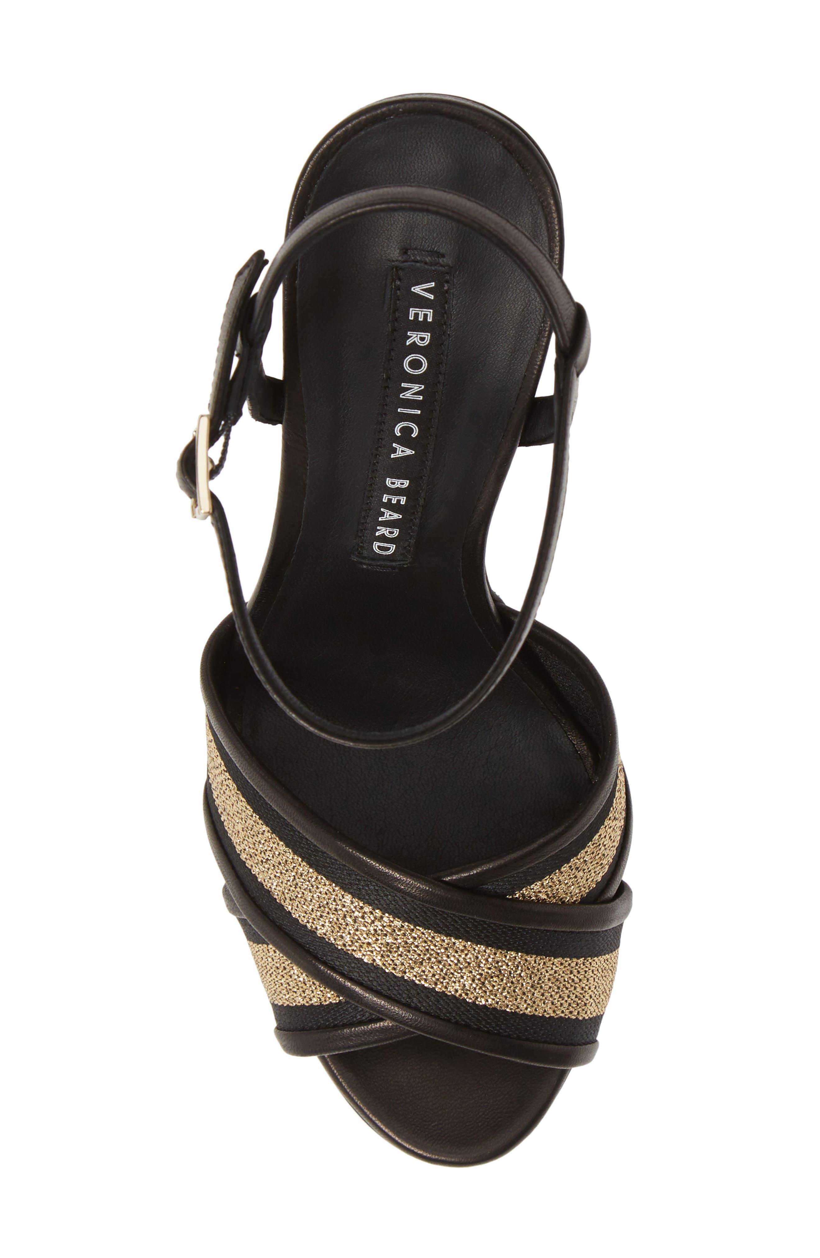 VERONICA BEARD,                             Olympia Quarter Strap Sandal,                             Alternate thumbnail 5, color,                             BLACK/ GOLD
