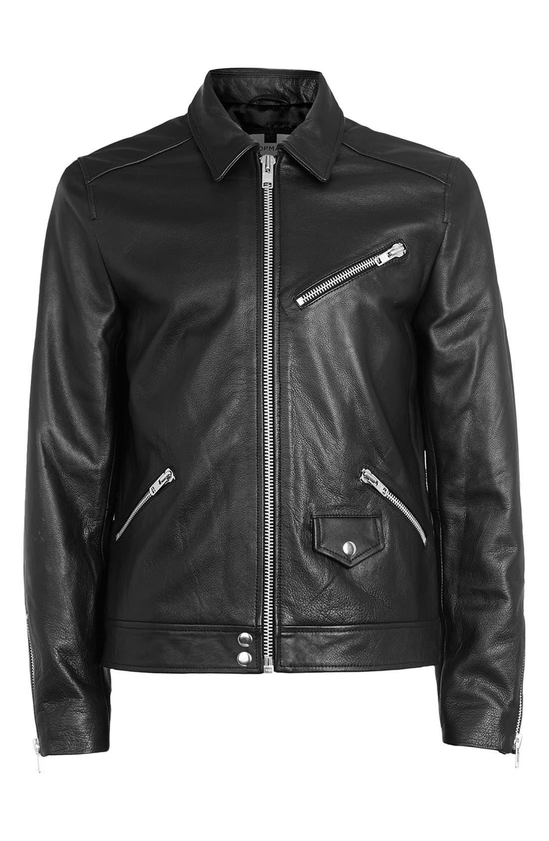 Black Leather Harrington Jacket,                             Alternate thumbnail 4, color,                             001