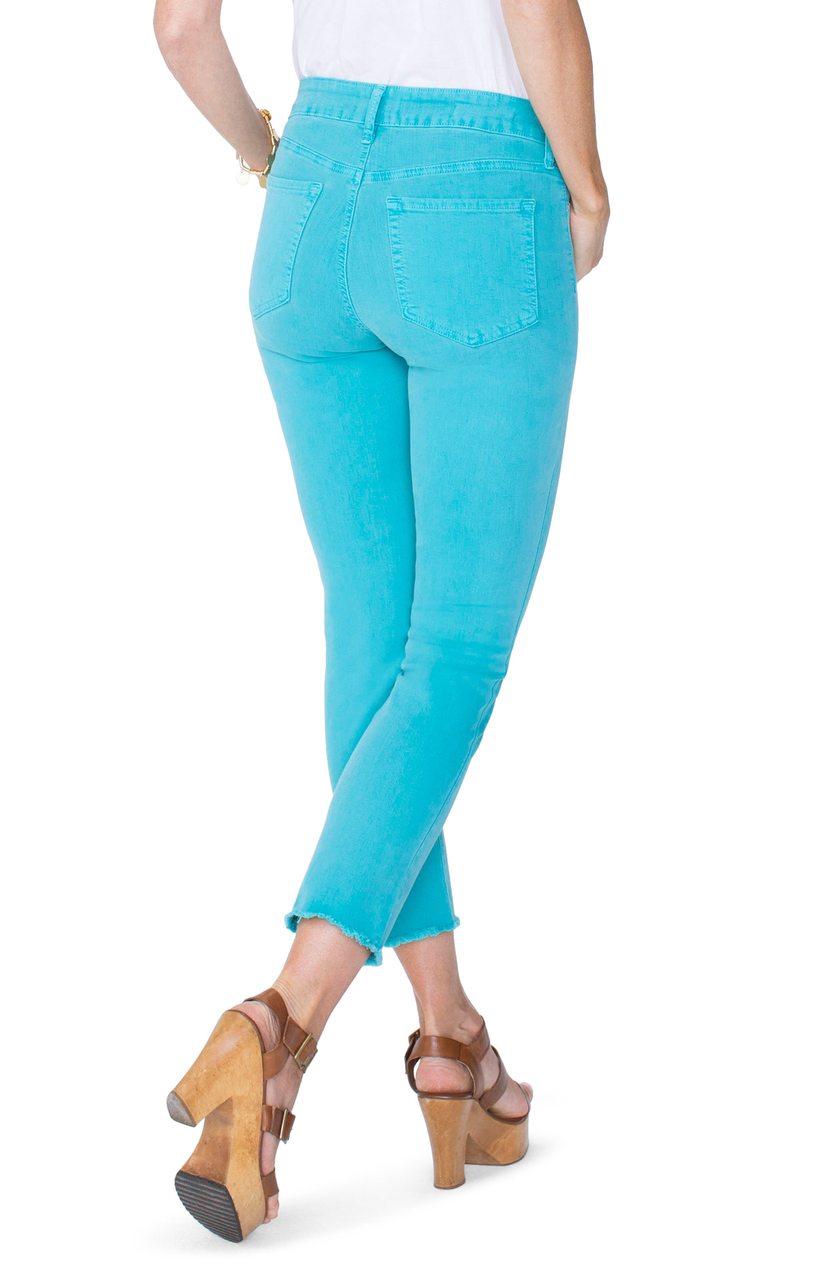 Sheri High Waist Frayed Hem Stretch Slim Ankle Jeans,                             Alternate thumbnail 2, color,                             WATER