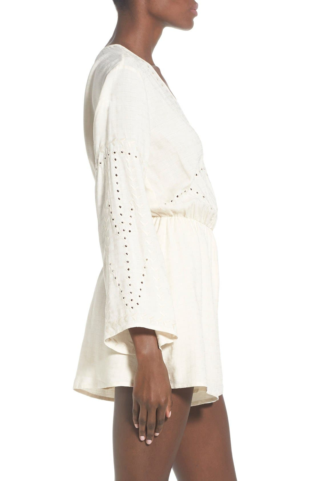 ASTR Embroidered Bell Sleeve Romper,                             Alternate thumbnail 6, color,                             902