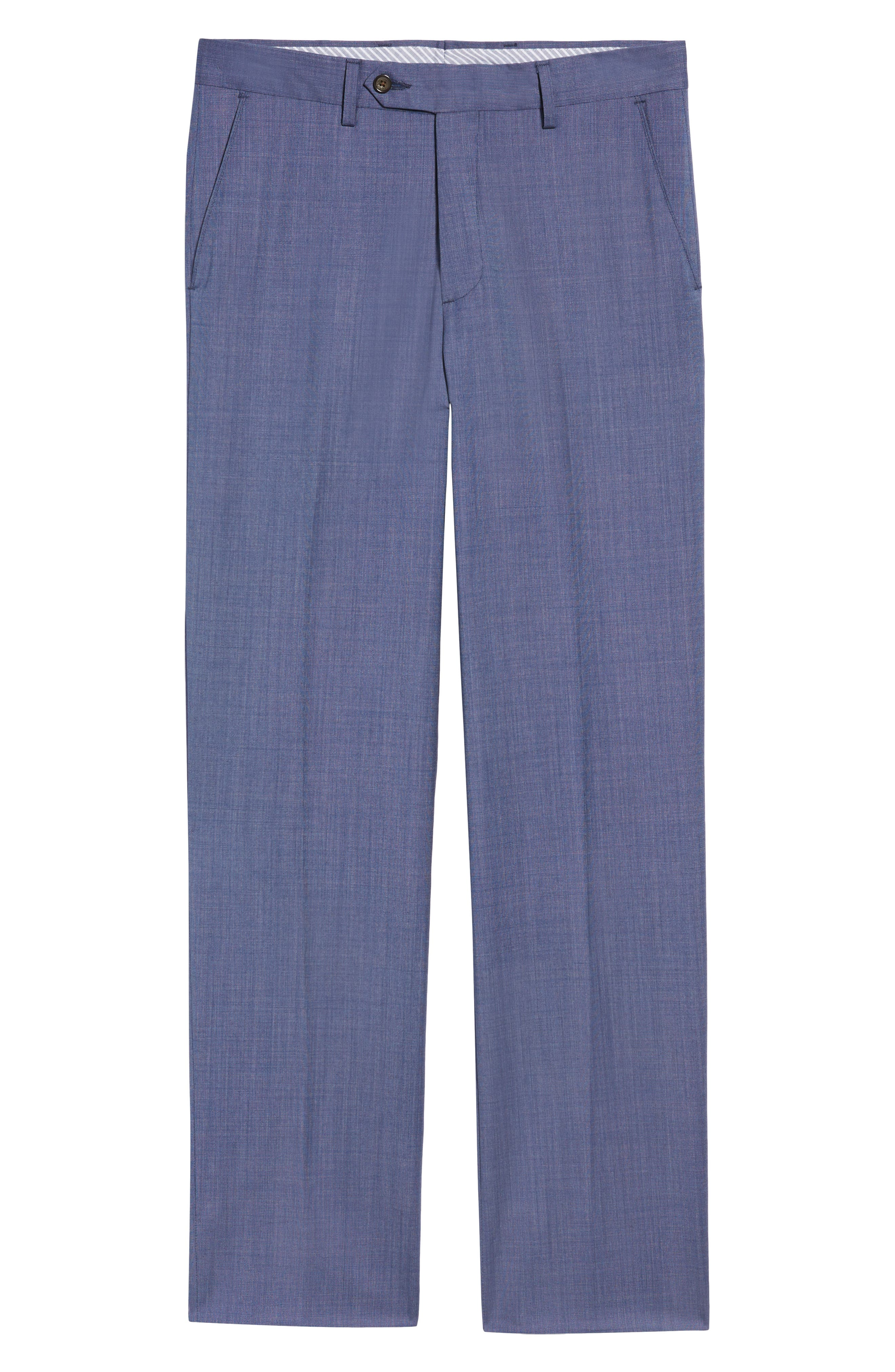 Manufacturing Flat Front Wool Trousers,                             Alternate thumbnail 6, color,                             BLUE