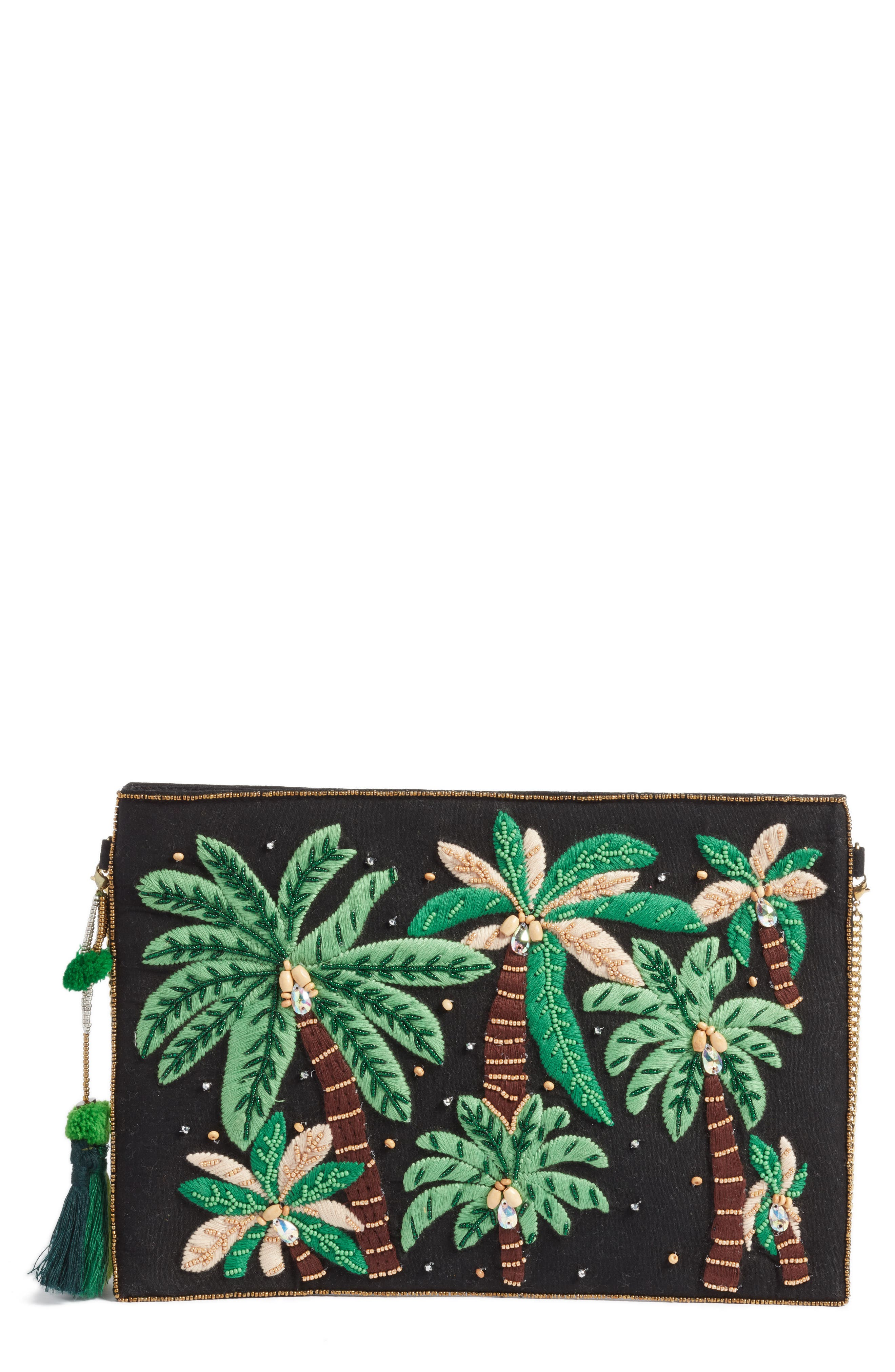 AREA STARS Embroidered Palm Tree Crossbody Bag - Black