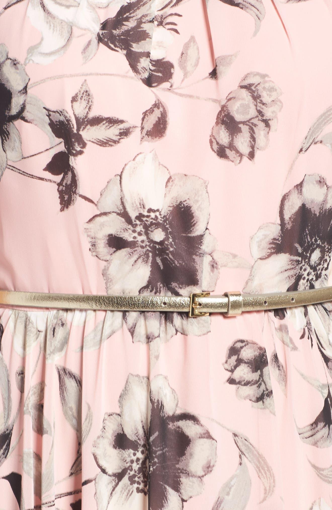 Belted Chiffon Maxi Dress,                             Alternate thumbnail 8, color,                             PINK MULTI