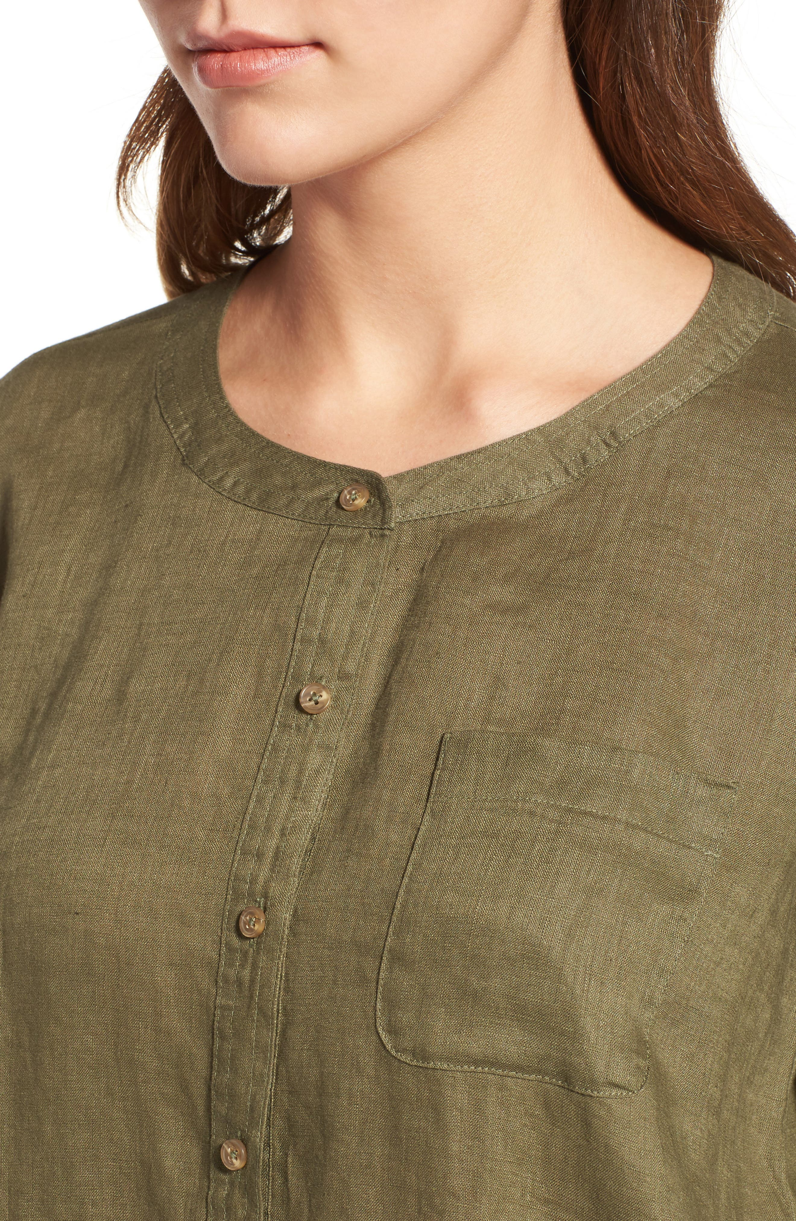 Two by Vince Camuto Collarless Linen Shirt,                             Alternate thumbnail 18, color,