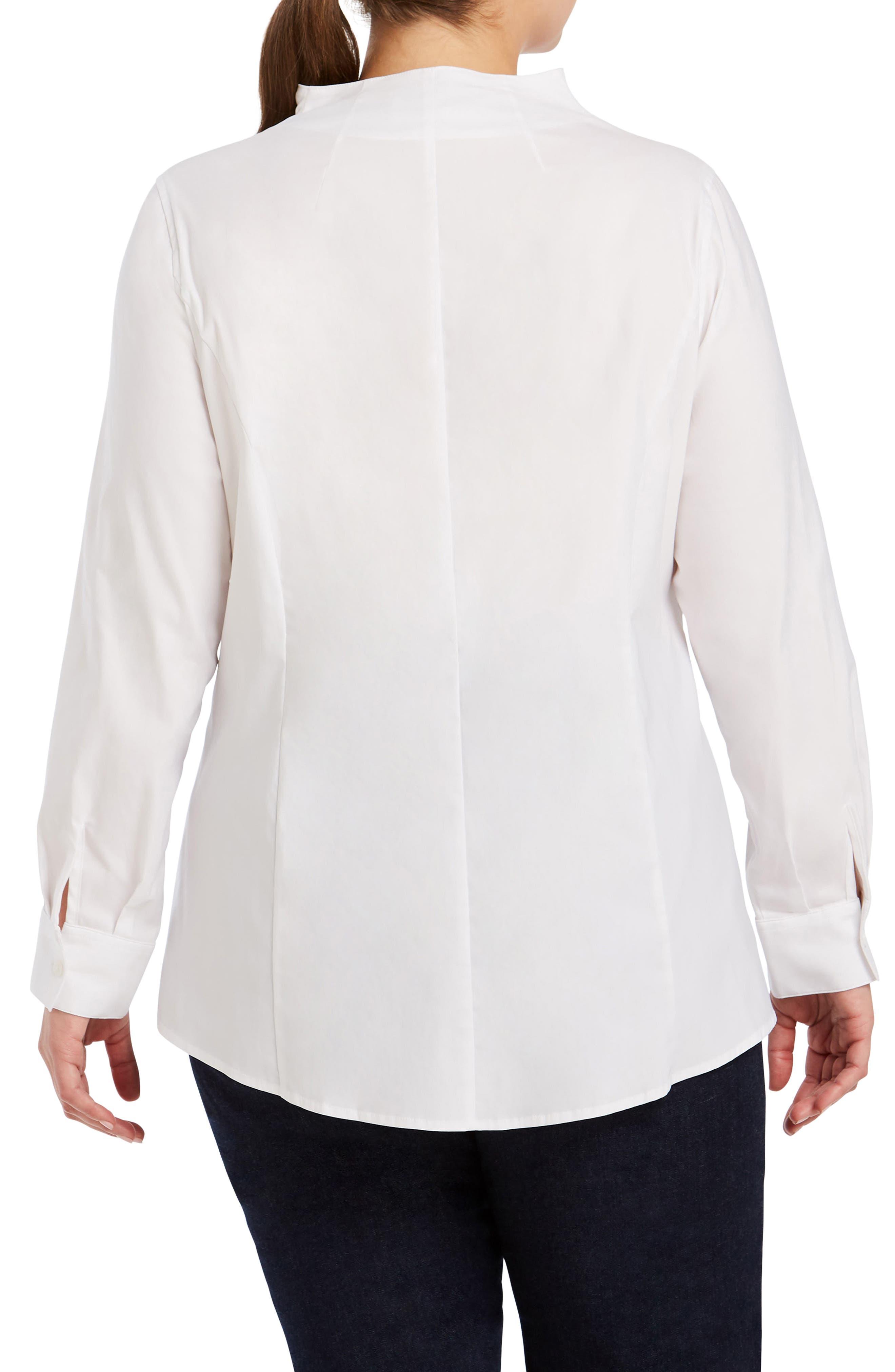Selma Stretch Tunic Shirt,                             Alternate thumbnail 2, color,                             WHITE