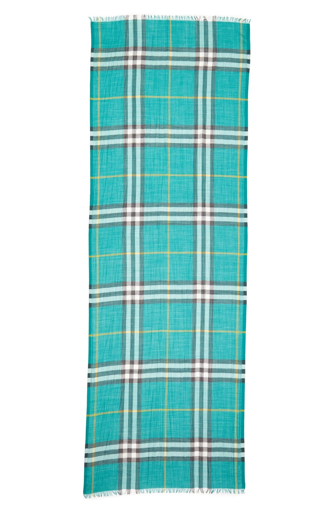 Giant Check Print Wool & Silk Scarf,                             Alternate thumbnail 100, color,