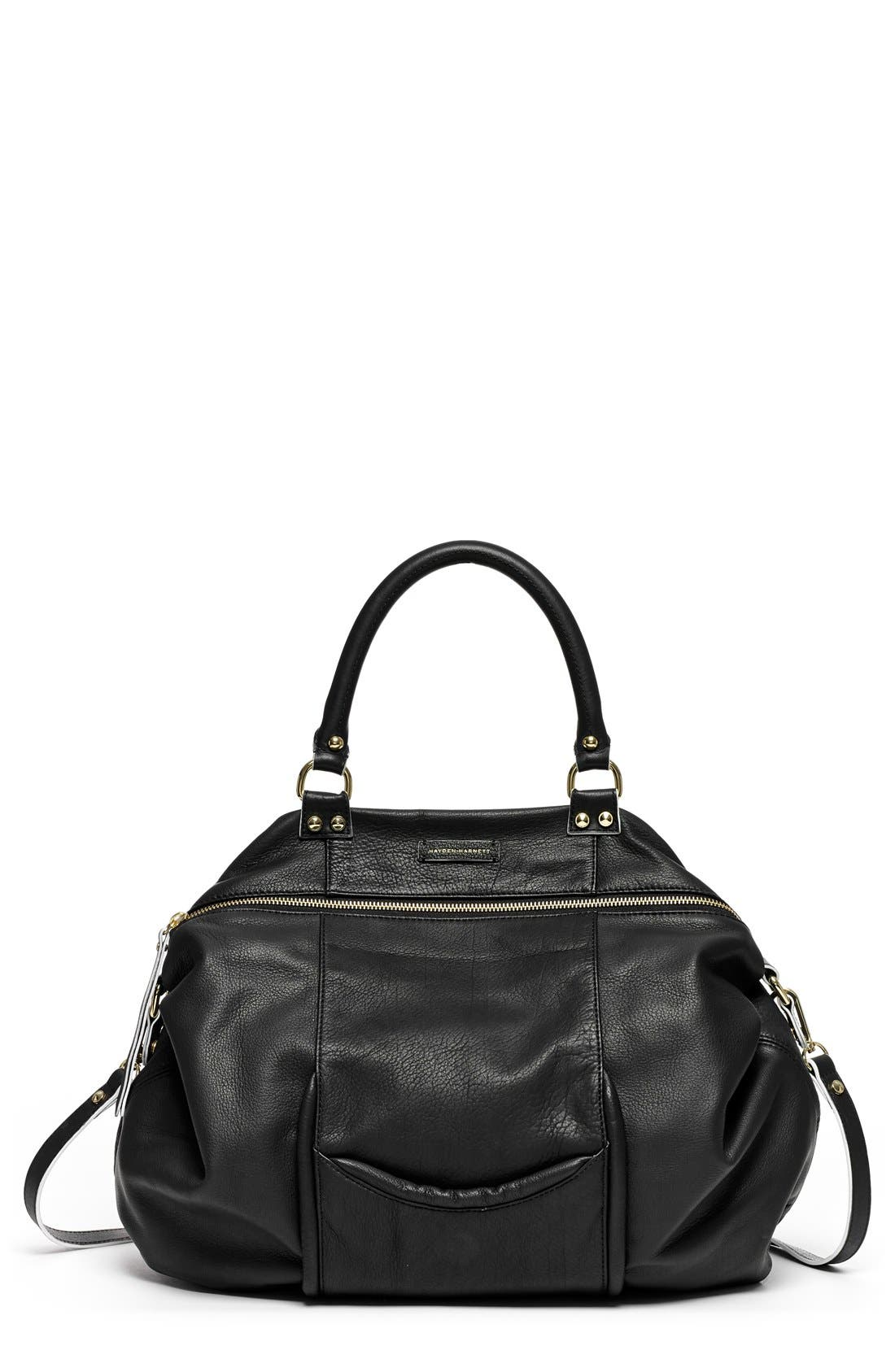 'All Day' Leather Satchel, Main, color, 001