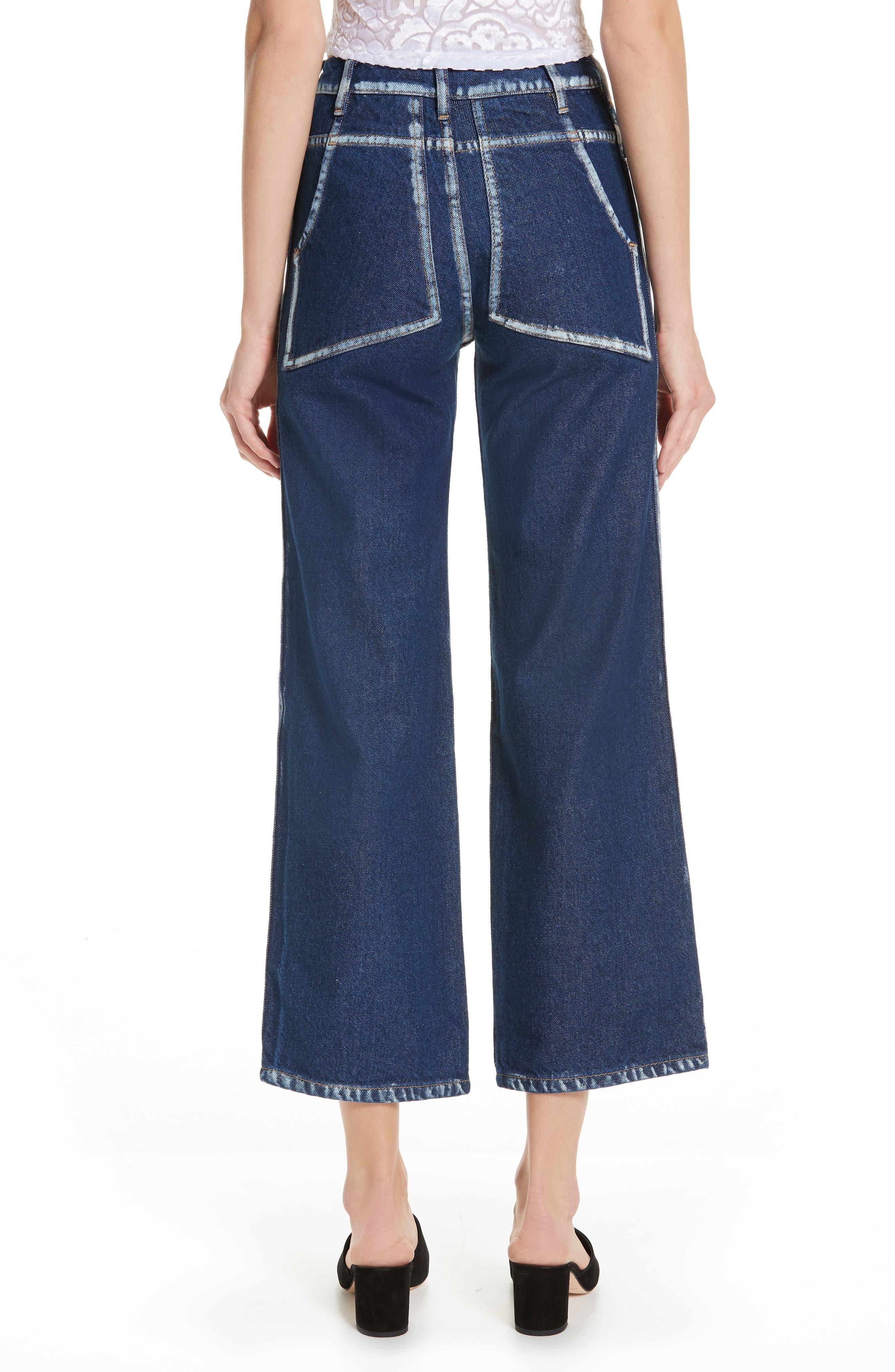 EL Painted Seam Wide Leg Jeans,                             Alternate thumbnail 2, color,                             BLUE SEAM PAINTING