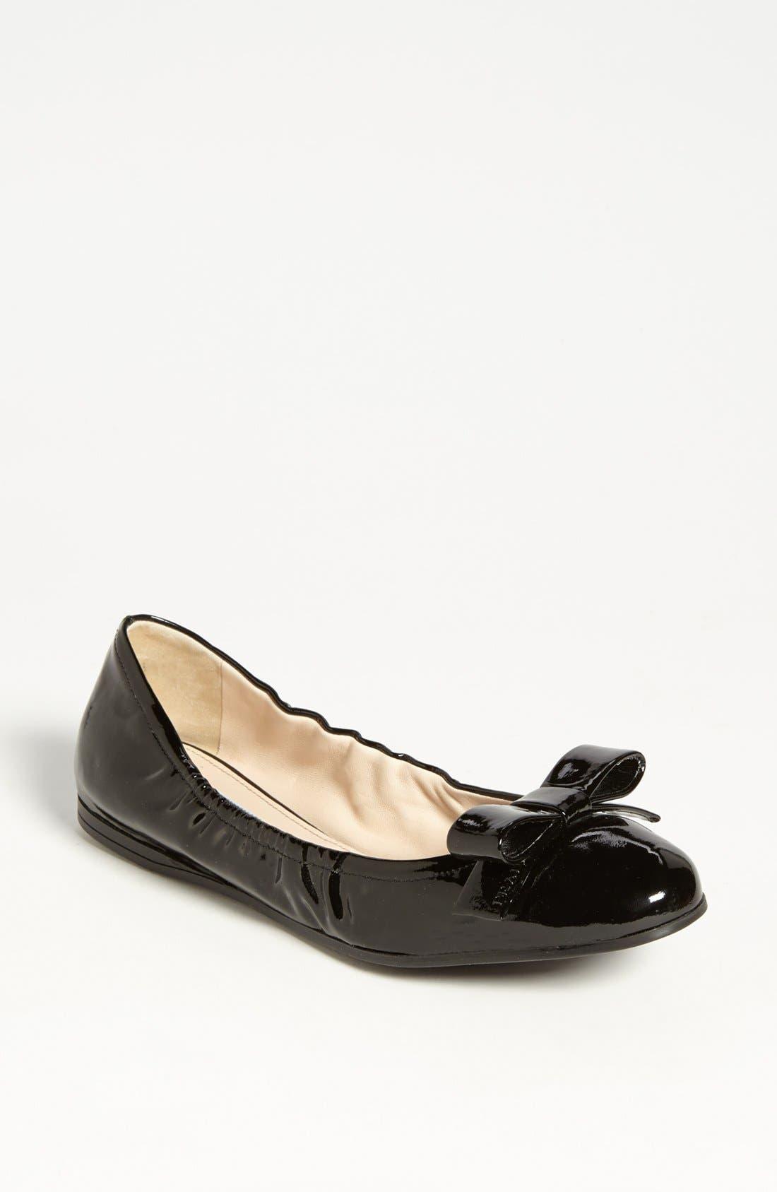 PRADA Bow Ballet Flat, Main, color, 001