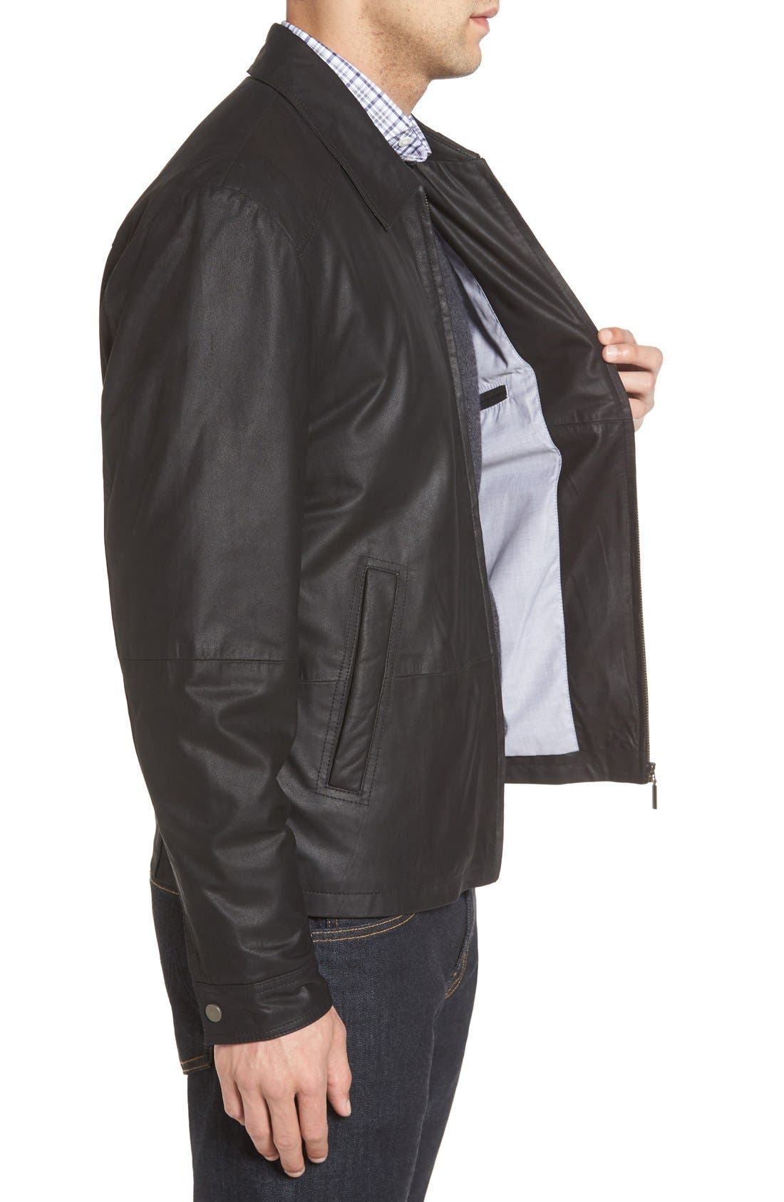 MissaniLe CollezioniLambskin Leather Jacket,                             Alternate thumbnail 4, color,                             BLACK