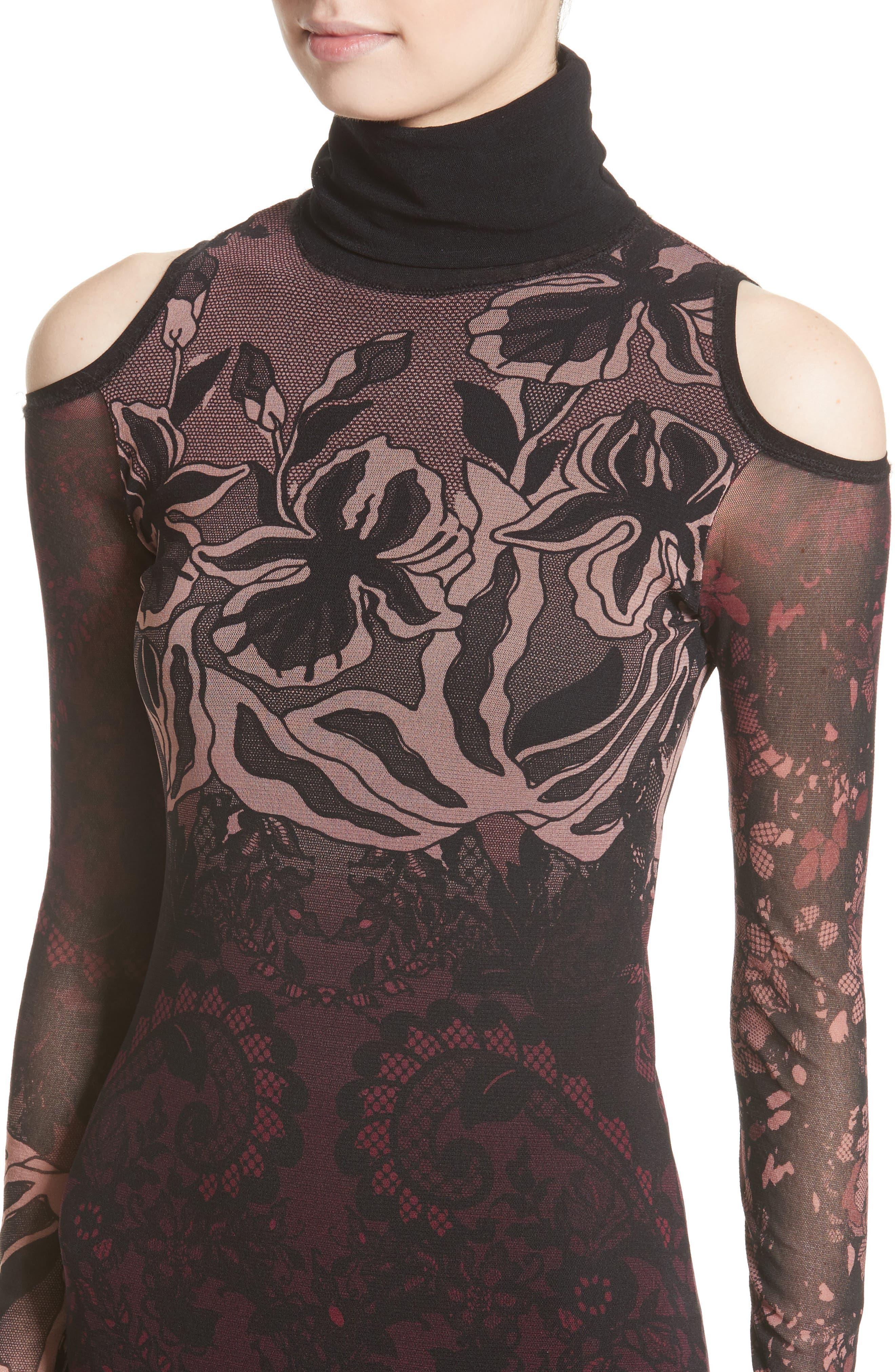 Cold Shoulder Tulle Turtleneck Dress,                             Alternate thumbnail 4, color,