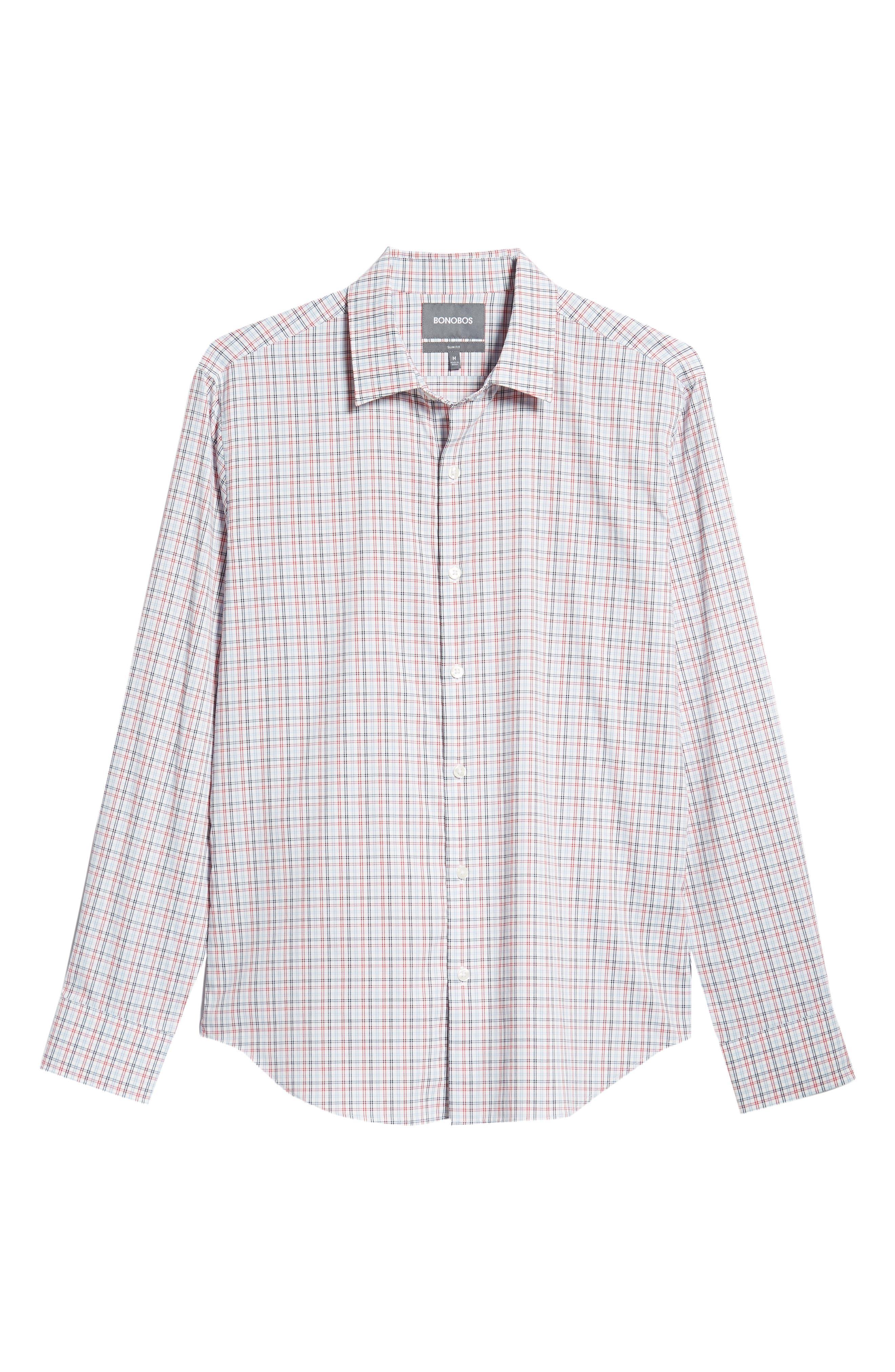 Slim Fit Check Performance Sport Shirt,                             Alternate thumbnail 5, color,                             HILLGROVE CHECK - CERISE