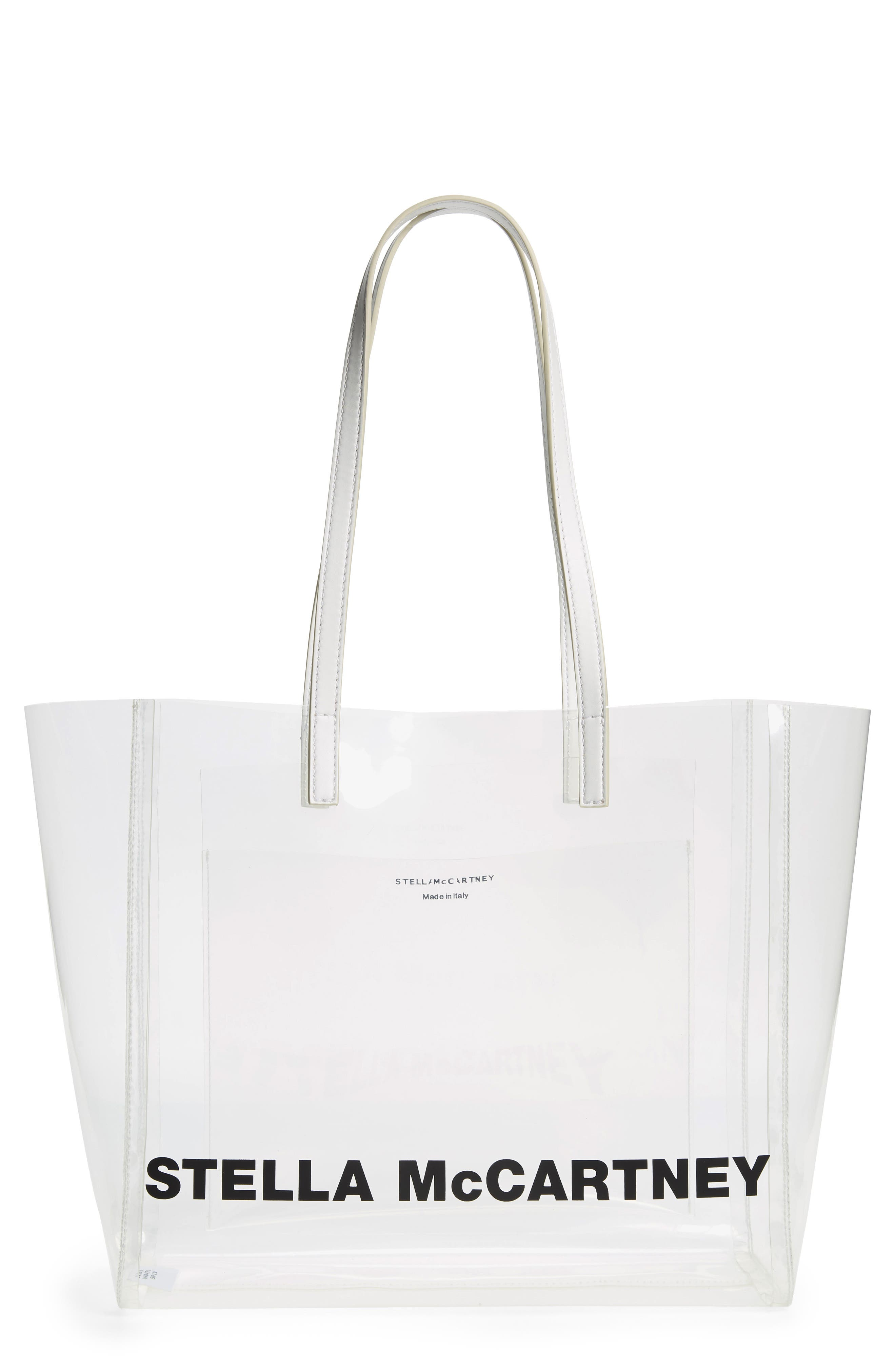 Clear Logo Tote, Main, color, CLEAR