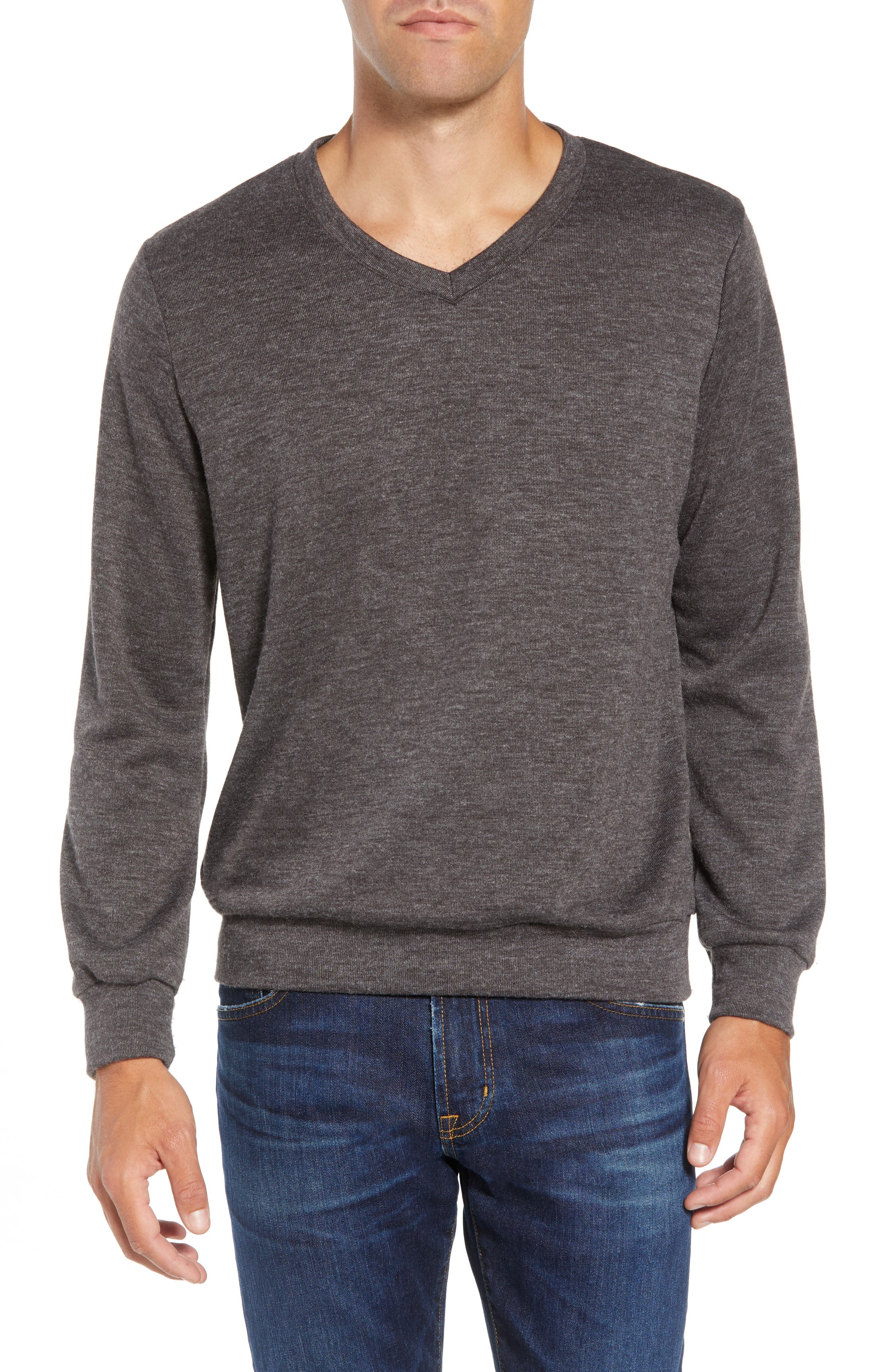 Prospect V-Neck Performance Sweater,                         Main,                         color, CHARCOAL