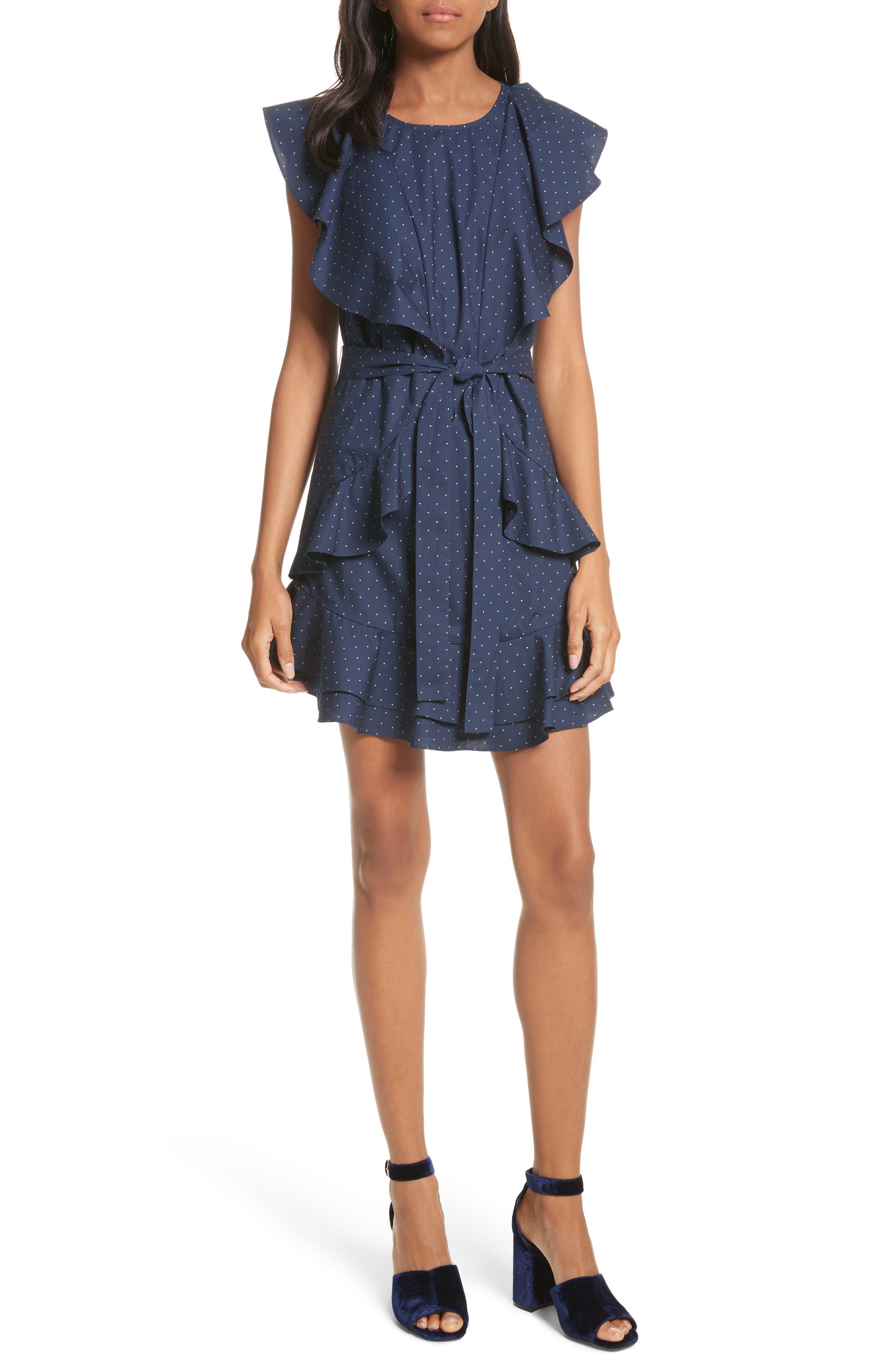 Malachy Ruffle Dot Cotton Dress,                             Main thumbnail 1, color,