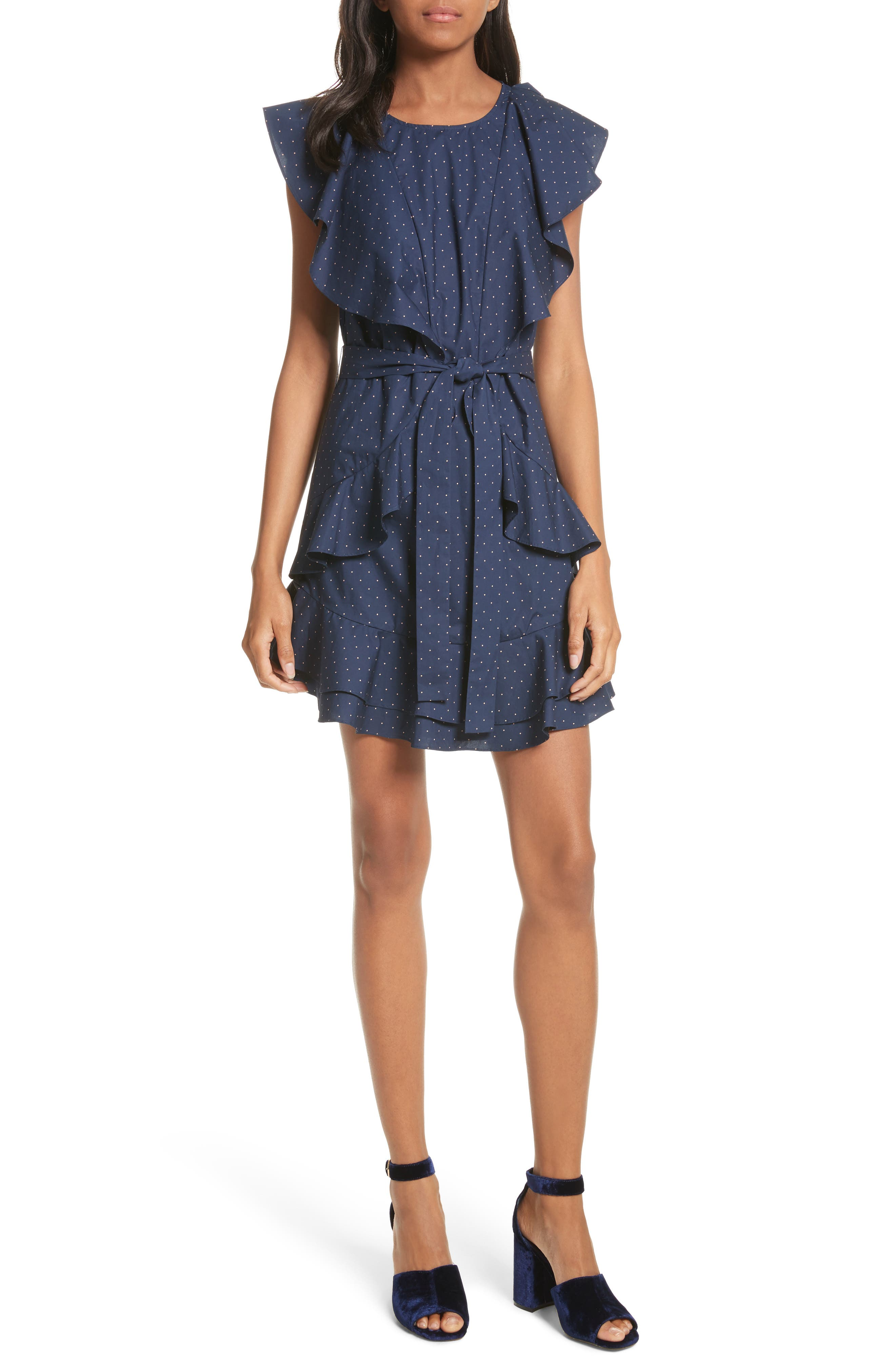 Malachy Ruffle Dot Cotton Dress,                         Main,                         color,