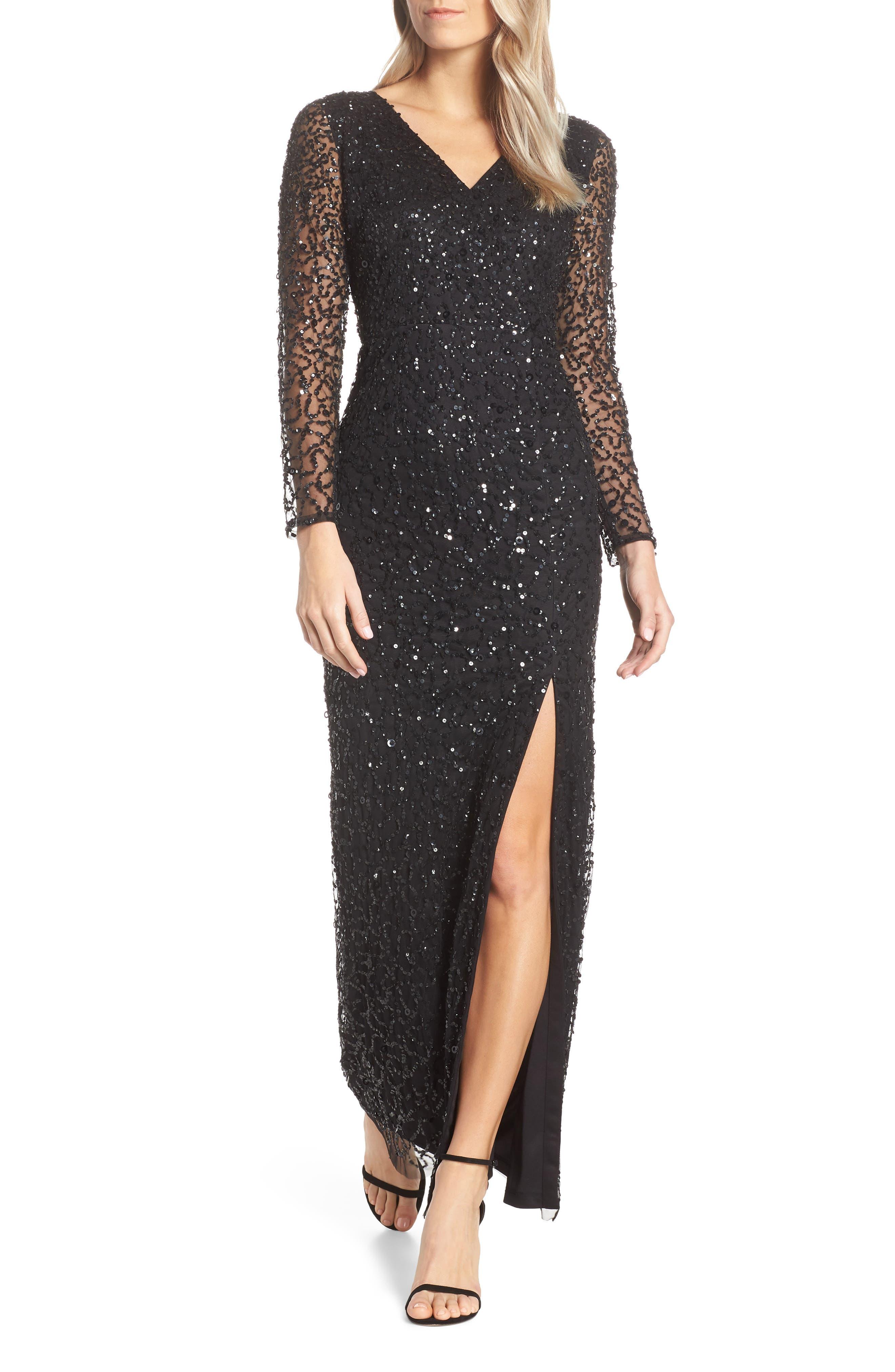 Adrianna Papell Beaded Mesh Evening Dress, Black