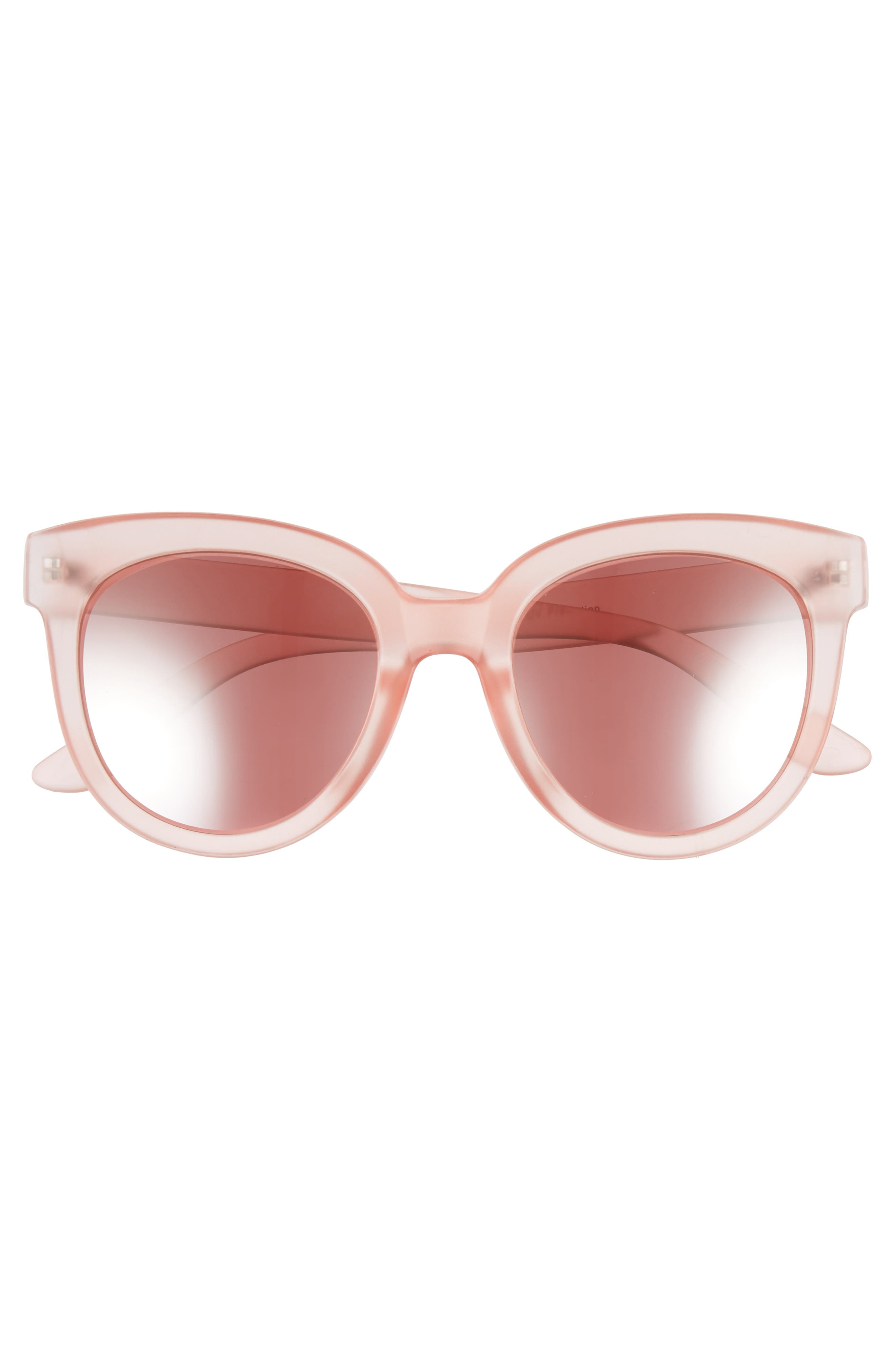 53mm Frosted Cat Eye Sunglasses,                             Alternate thumbnail 3, color,                             MILKY PINK/ ROSE GOLD