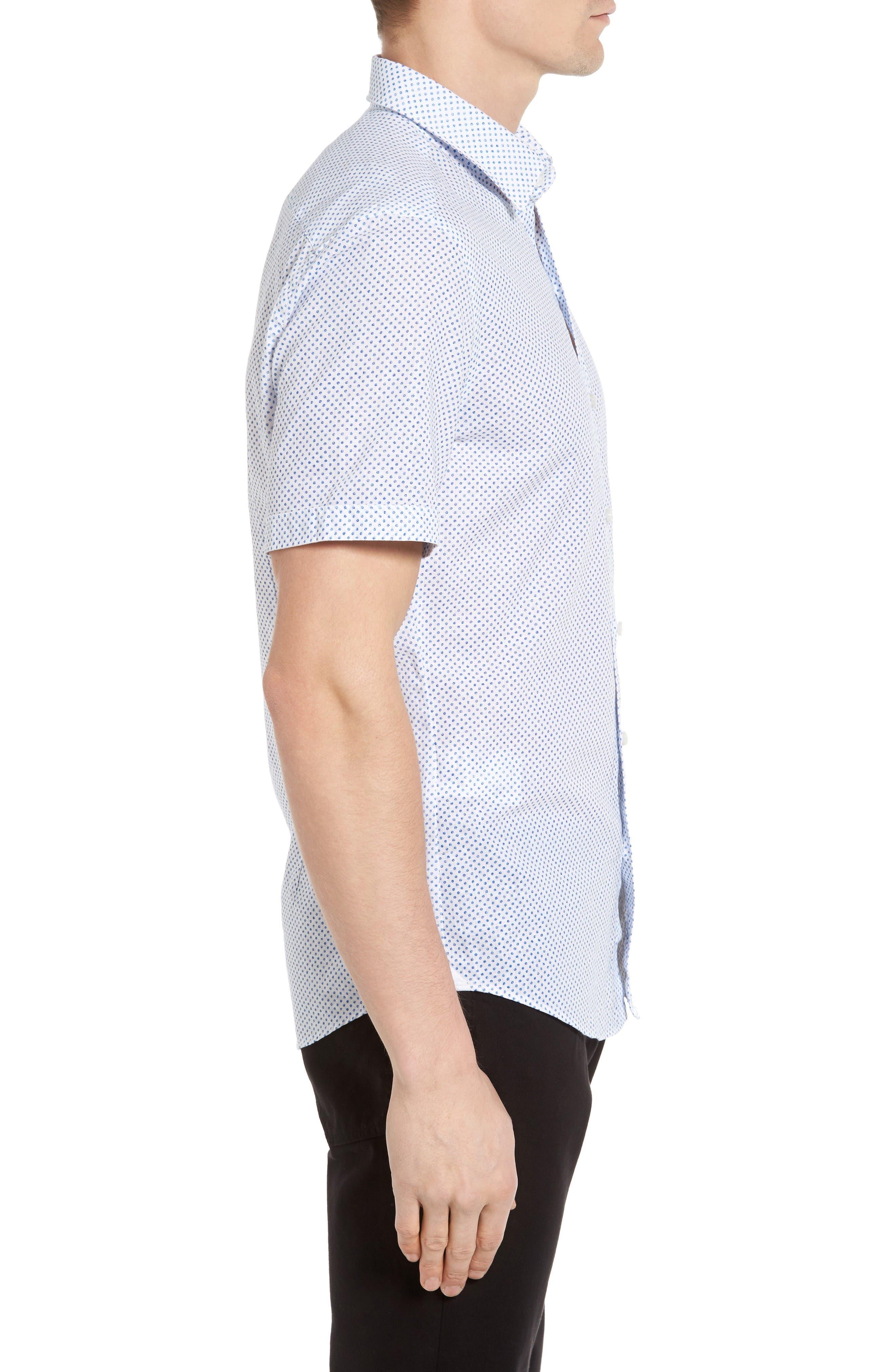 Robbie Slim Fit Dot Print Sport Shirt,                             Alternate thumbnail 3, color,