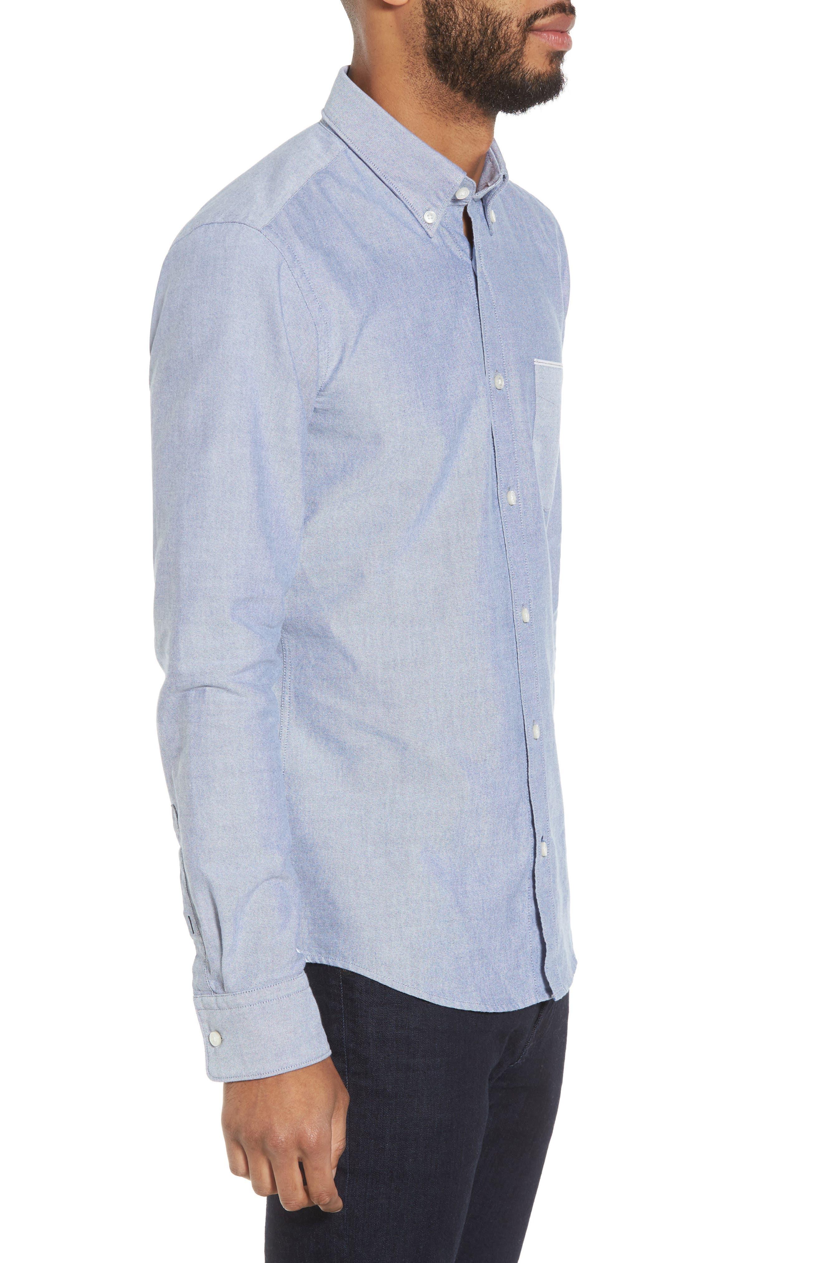 BOSS,                             Rod Trim Fit Solid Sport Shirt,                             Alternate thumbnail 3, color,                             403