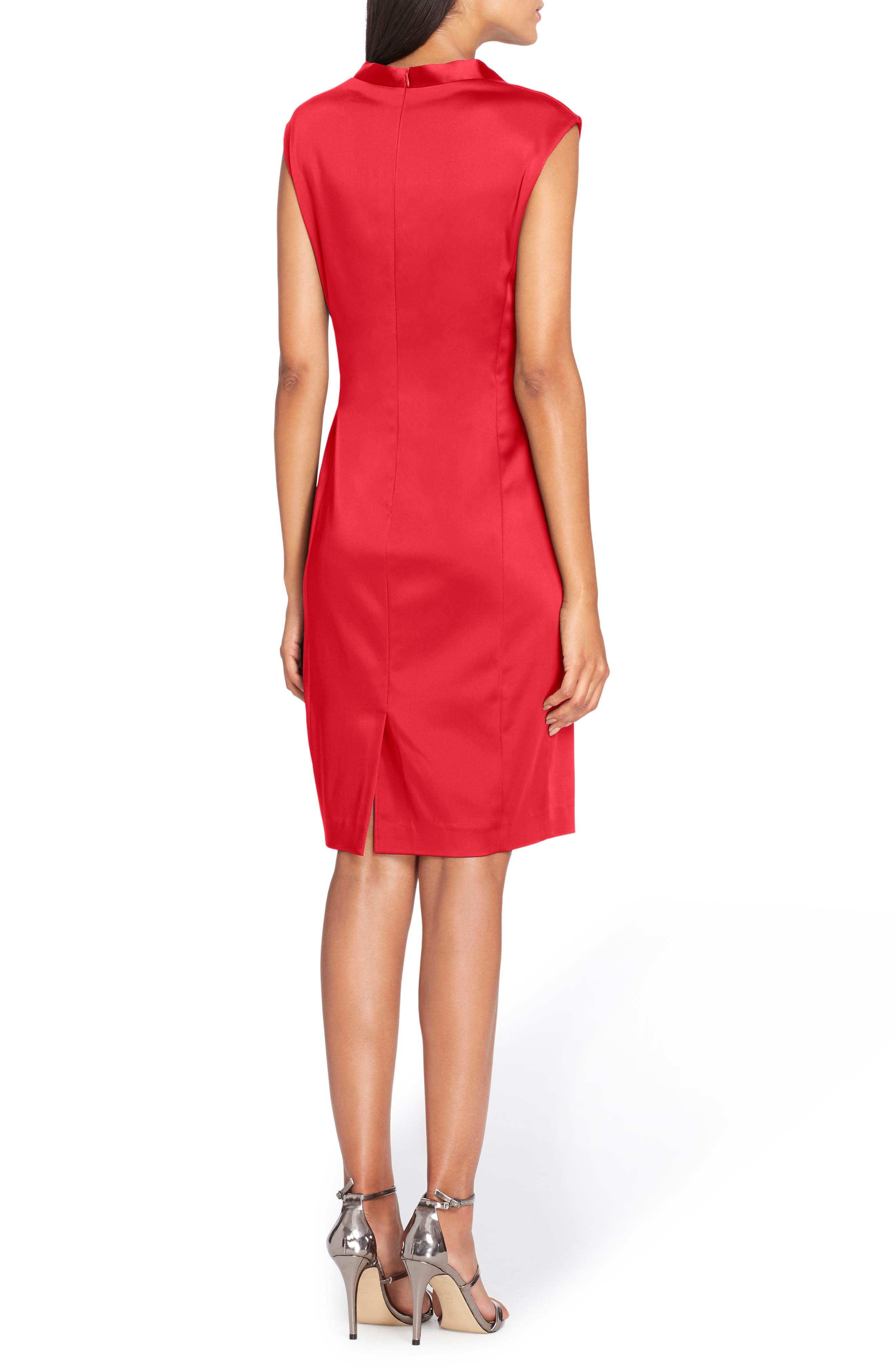 Stretch Satin Sheath Dress,                             Alternate thumbnail 6, color,