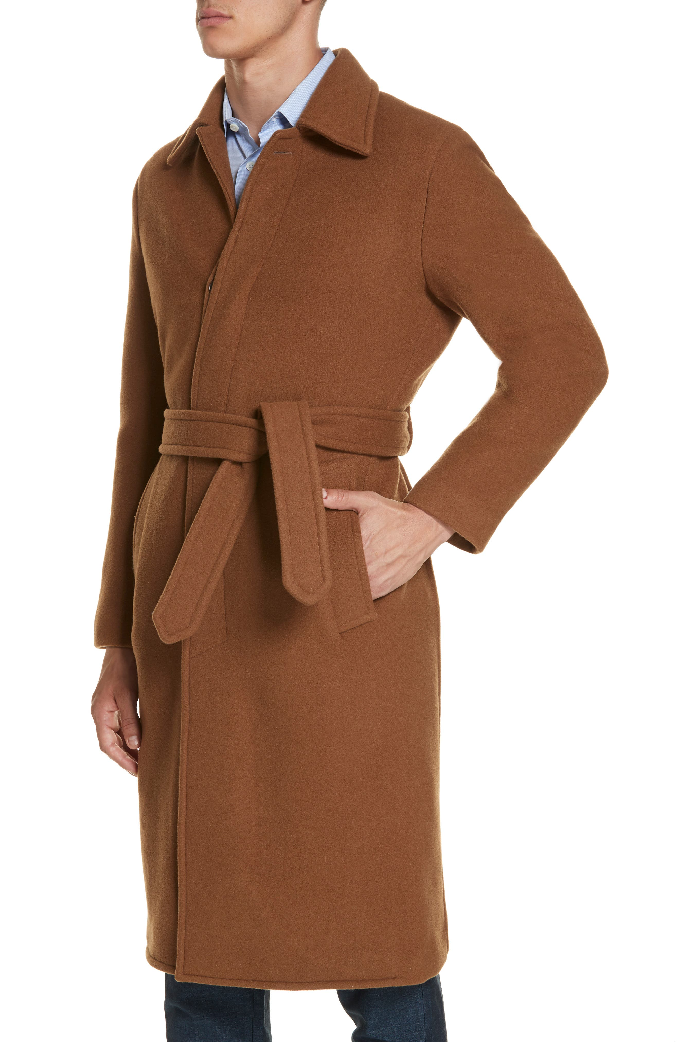 Wool & Cashmere Trench Coat,                             Alternate thumbnail 4, color,                             TAN