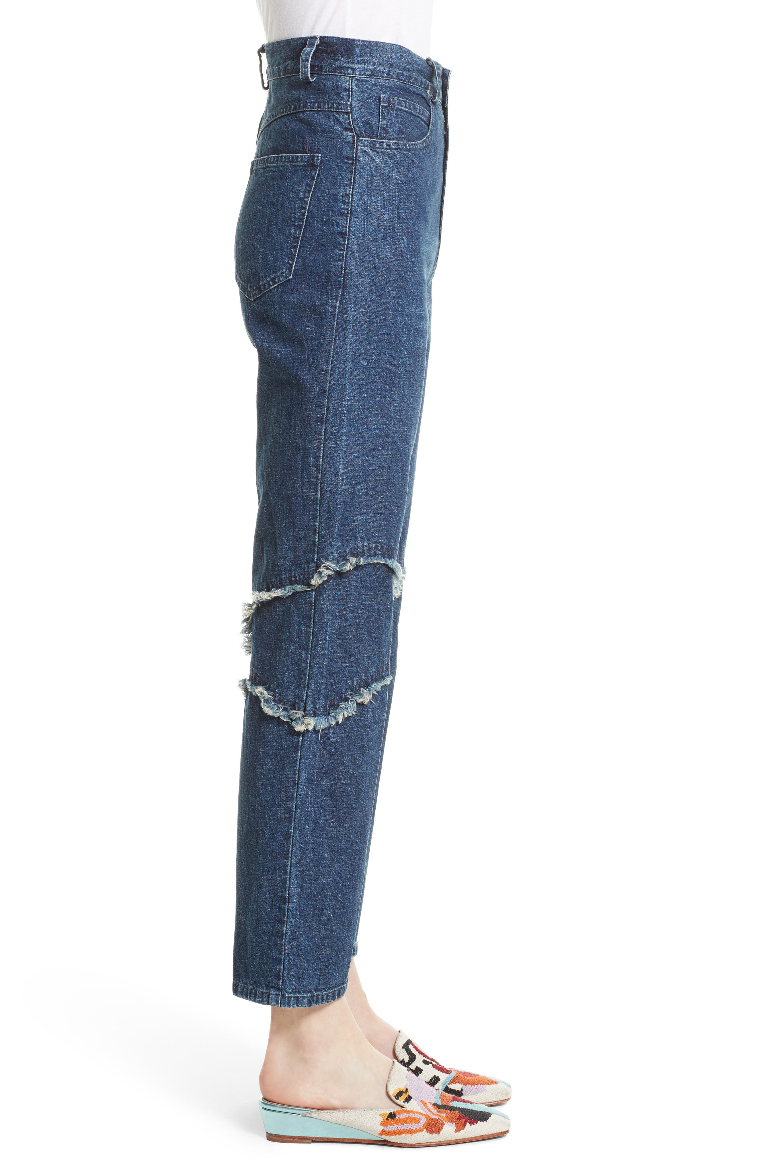 Ticklers Frayed High Waist Crop Jeans,                             Alternate thumbnail 3, color,                             420