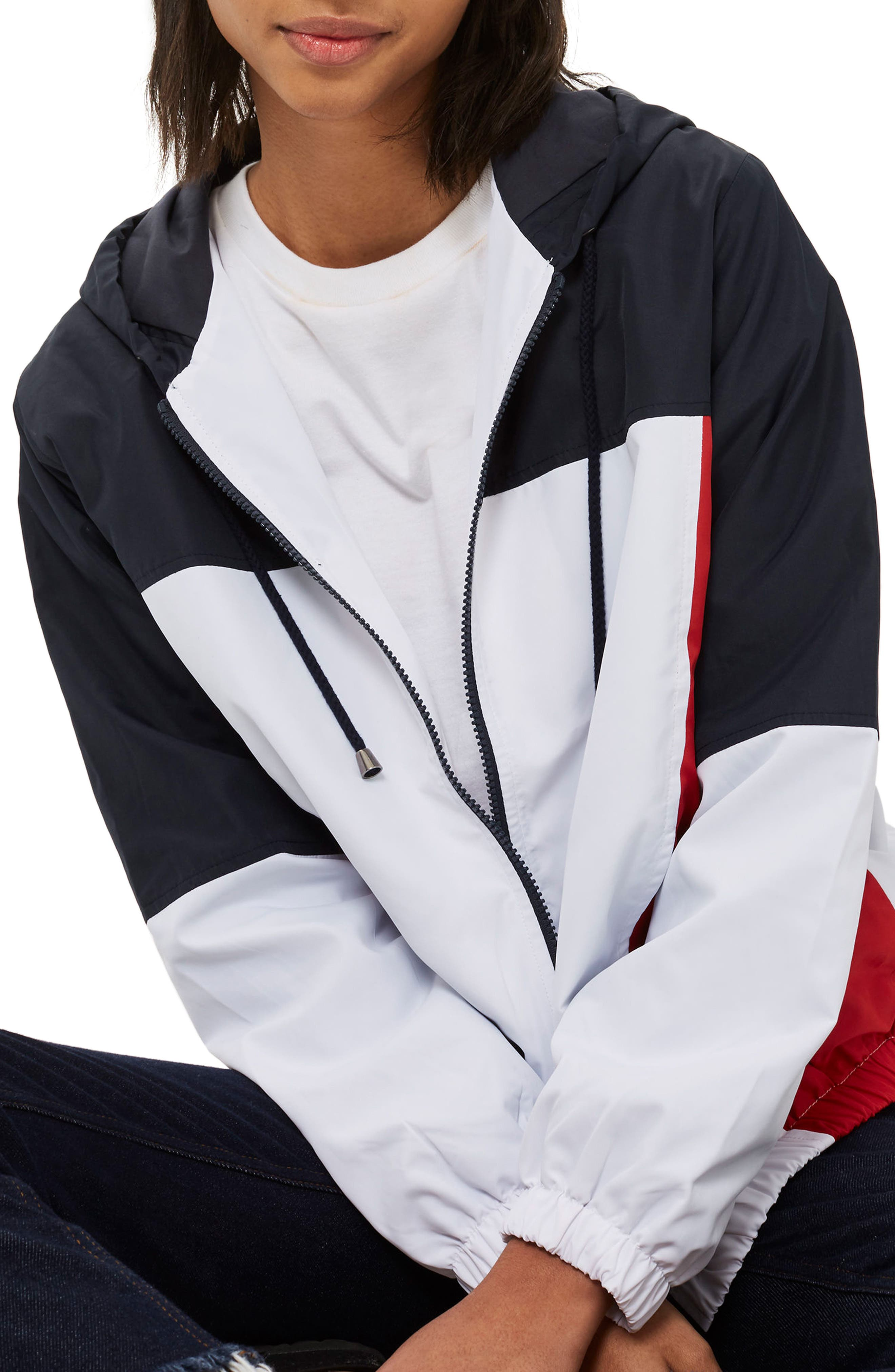 Colorblock Windbreaker Jacket,                             Alternate thumbnail 3, color,                             100