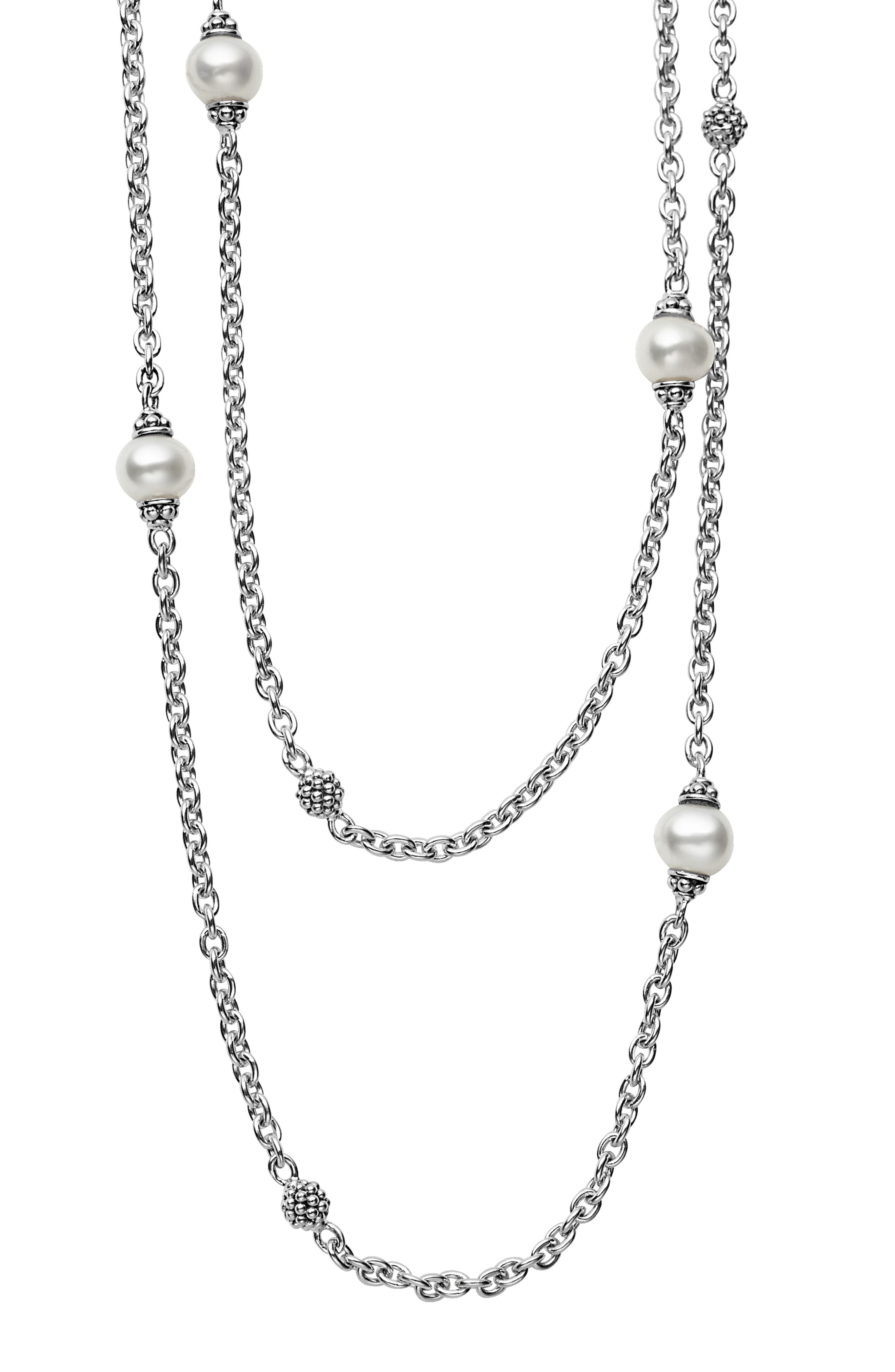 LAGOS,                             'Luna' Double Strand Pearl Station Necklace,                             Alternate thumbnail 2, color,                             SILVER/ PEARL