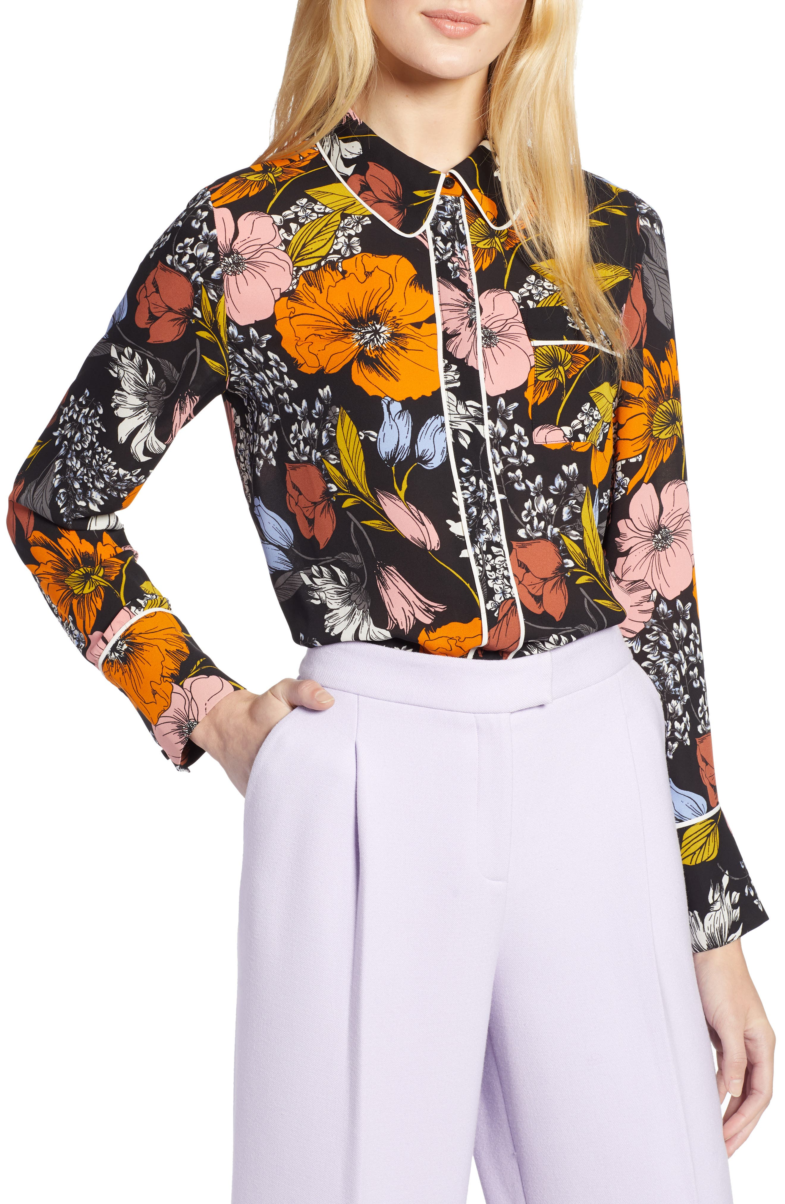 x Atlantic-Pacific Hidden Placket Blouse, Main, color, BLACK EADIE FLORAL
