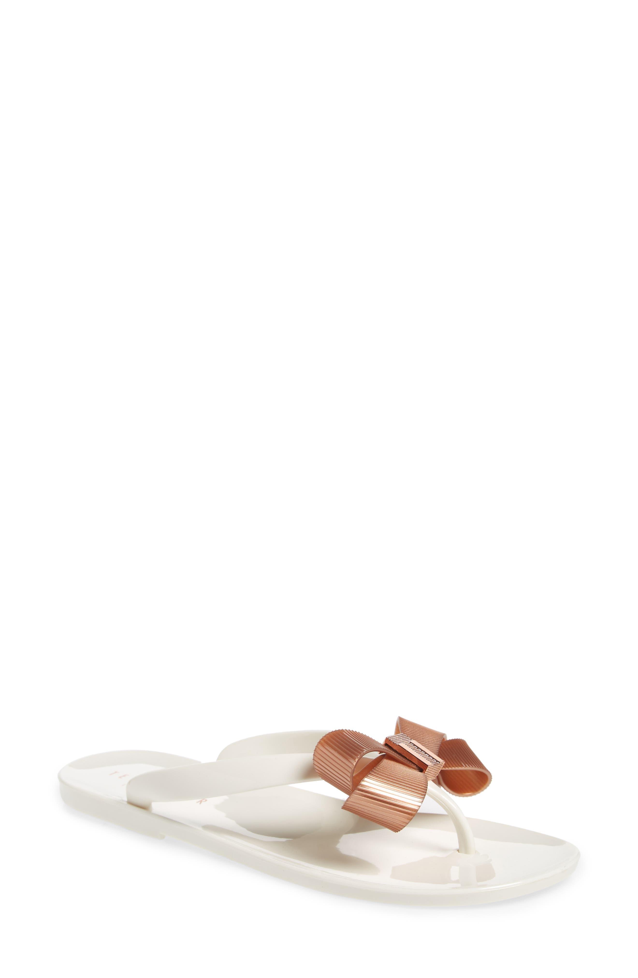 Suszie Flip Flop,                         Main,                         color, WHITE/ ROSE GOLD FABRIC
