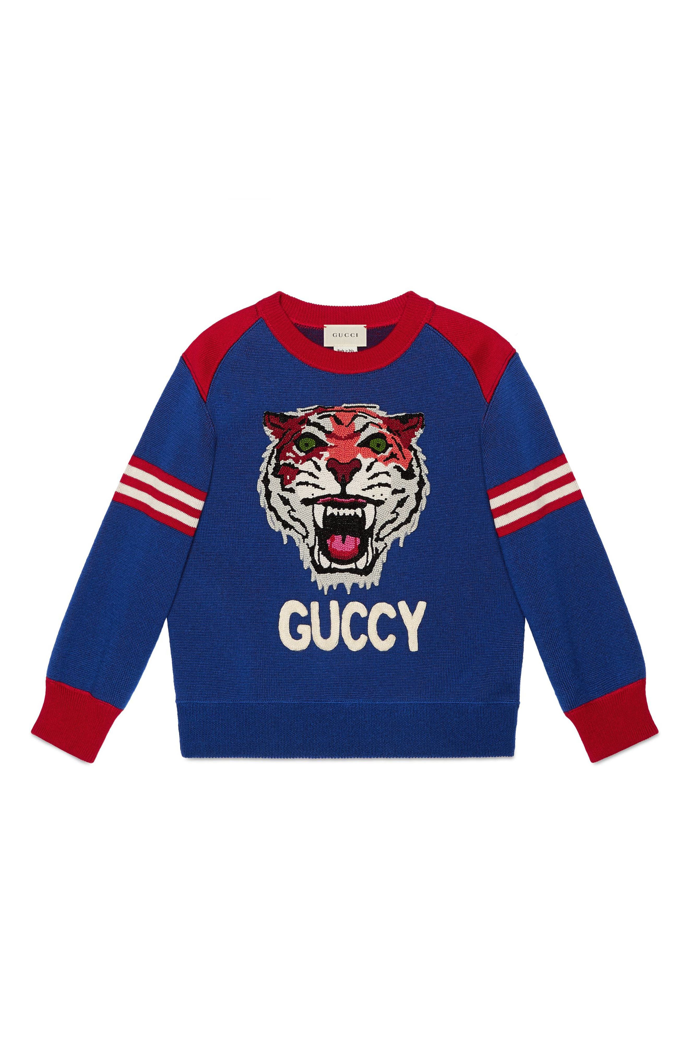 GUCCI,                             Embroidered Sweater,                             Main thumbnail 1, color,                             BLUE MULTI