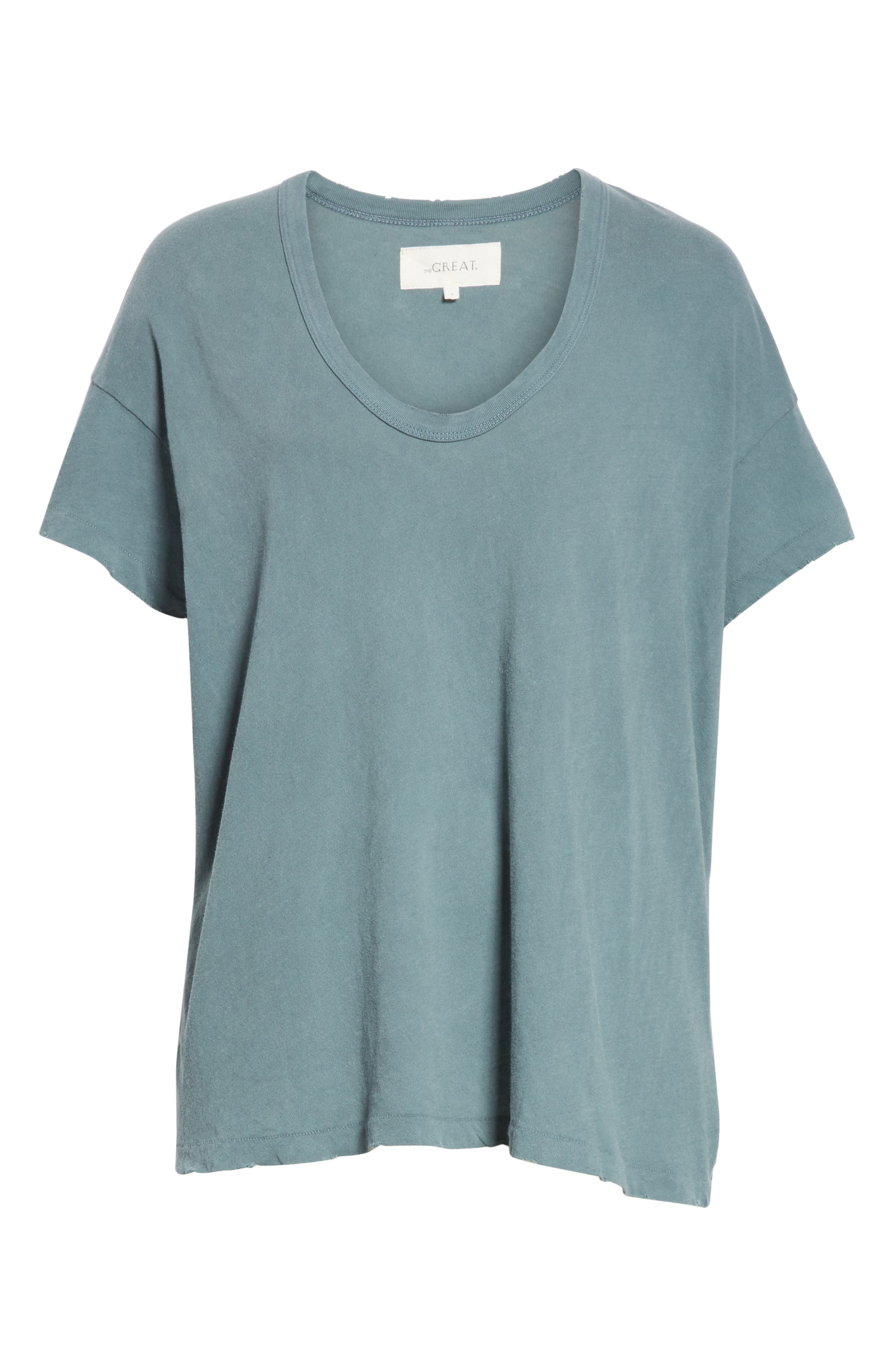 U-Neck Tee,                             Alternate thumbnail 6, color,                             MOTTLED BLUE