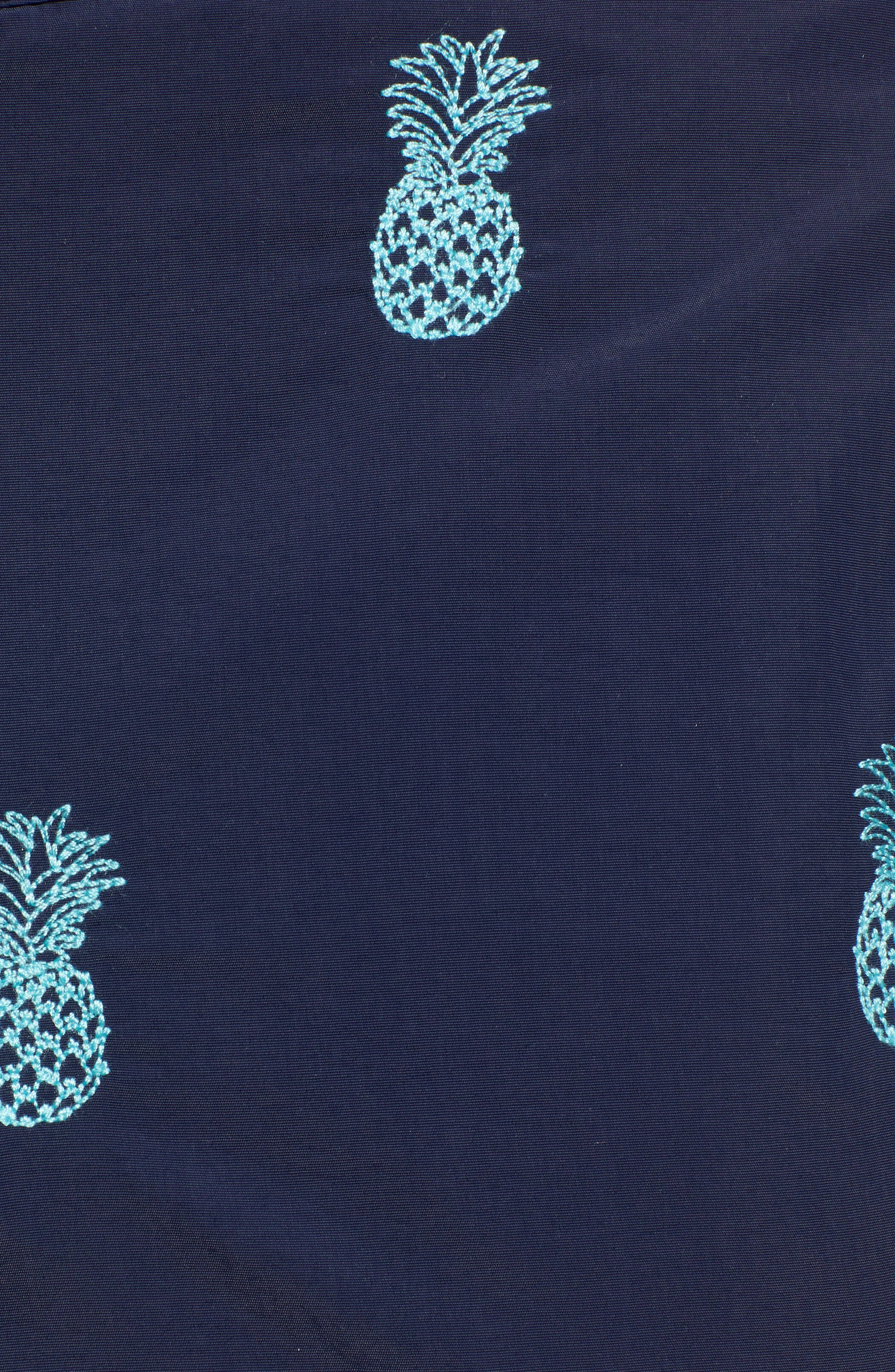 Aruba Embroidered 8.5 Inch Swim Trunks,                             Alternate thumbnail 5, color,                             NAVY EMBROIDERED PINEAPPLES