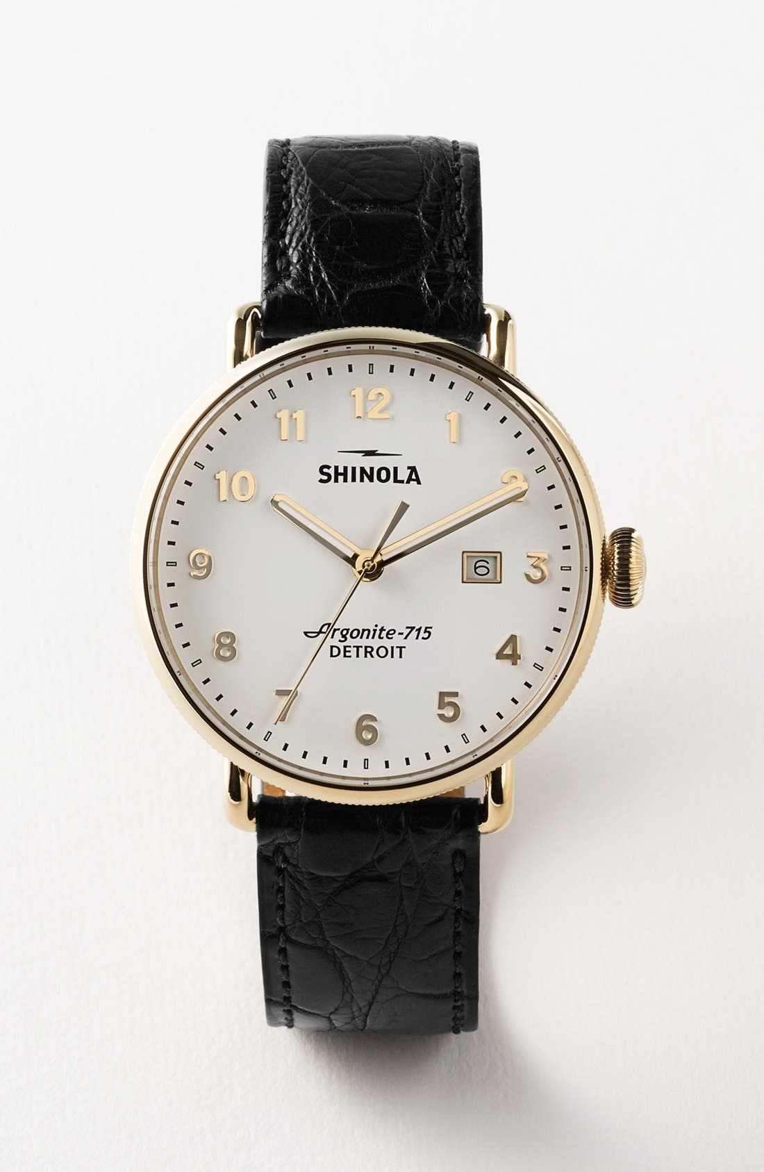 SHINOLA,                             The Canfield Leather Strap Watch, 43mm,                             Alternate thumbnail 4, color,                             DARK BROWN/ BLACK