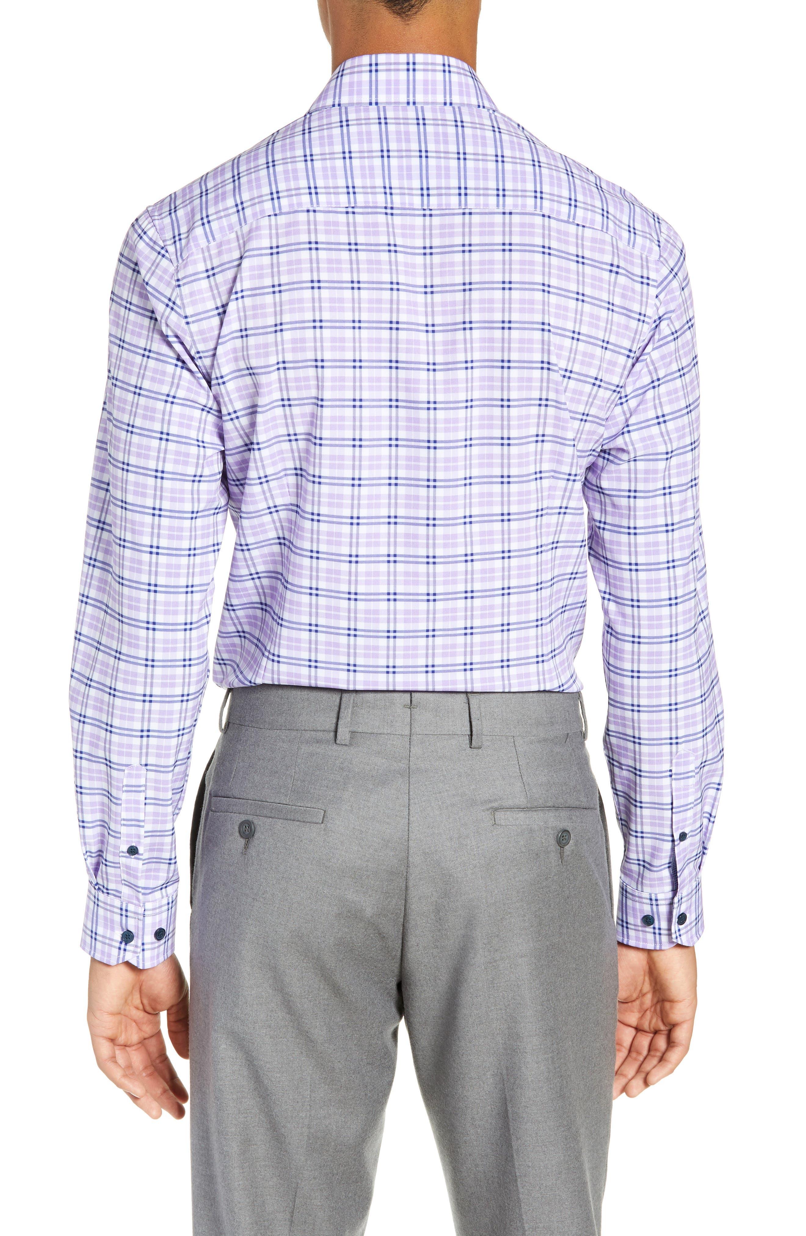 Trim Fit 4-Way Stretch Plaid Dress Shirt,                             Alternate thumbnail 3, color,                             PURPLE